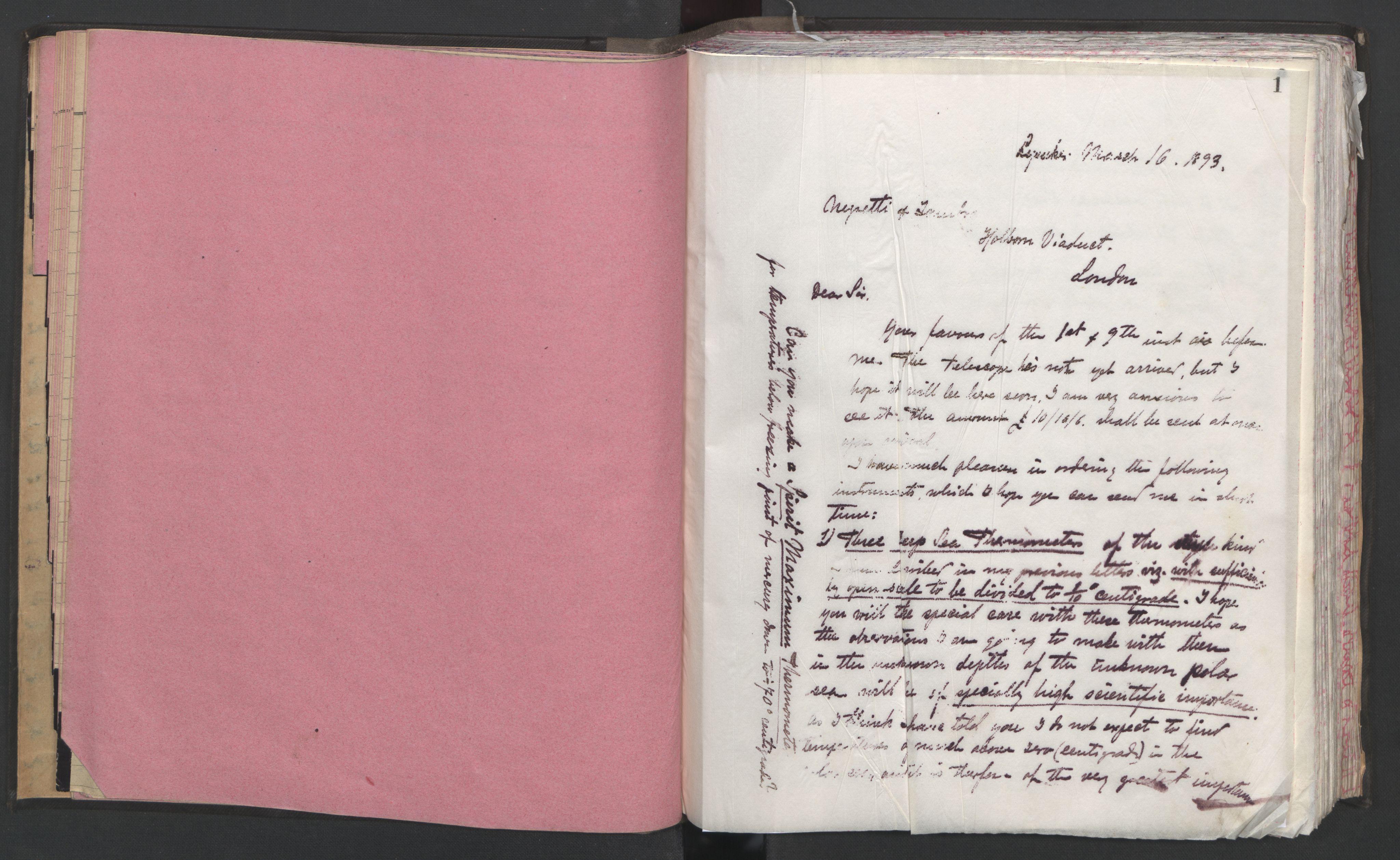 RA, Arbeidskomitéen for Fridtjof Nansens polarekspedisjon, D/L0002: 2 kopibøker - Forberedelser og utrustning, 1893, s. 1
