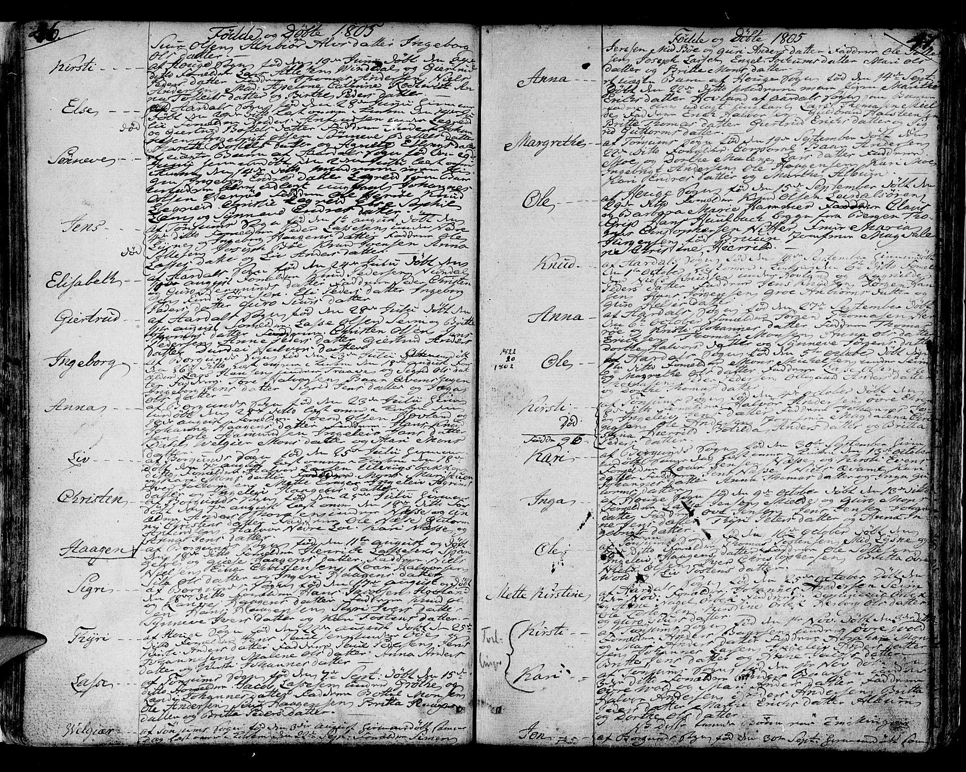 SAB, Lærdal sokneprestembete, Ministerialbok nr. A 4, 1805-1821, s. 46-47
