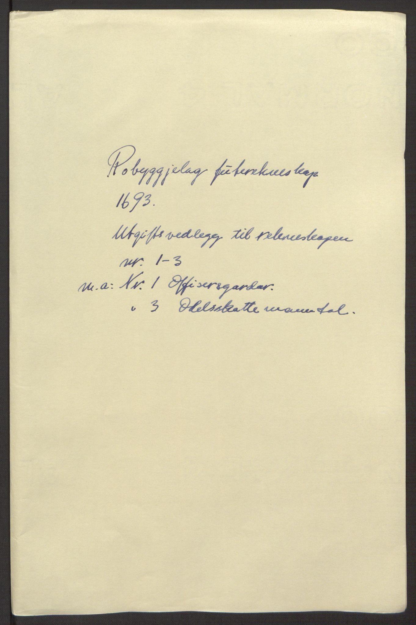 RA, Rentekammeret inntil 1814, Reviderte regnskaper, Fogderegnskap, R40/L2444: Fogderegnskap Råbyggelag, 1693-1696, s. 49