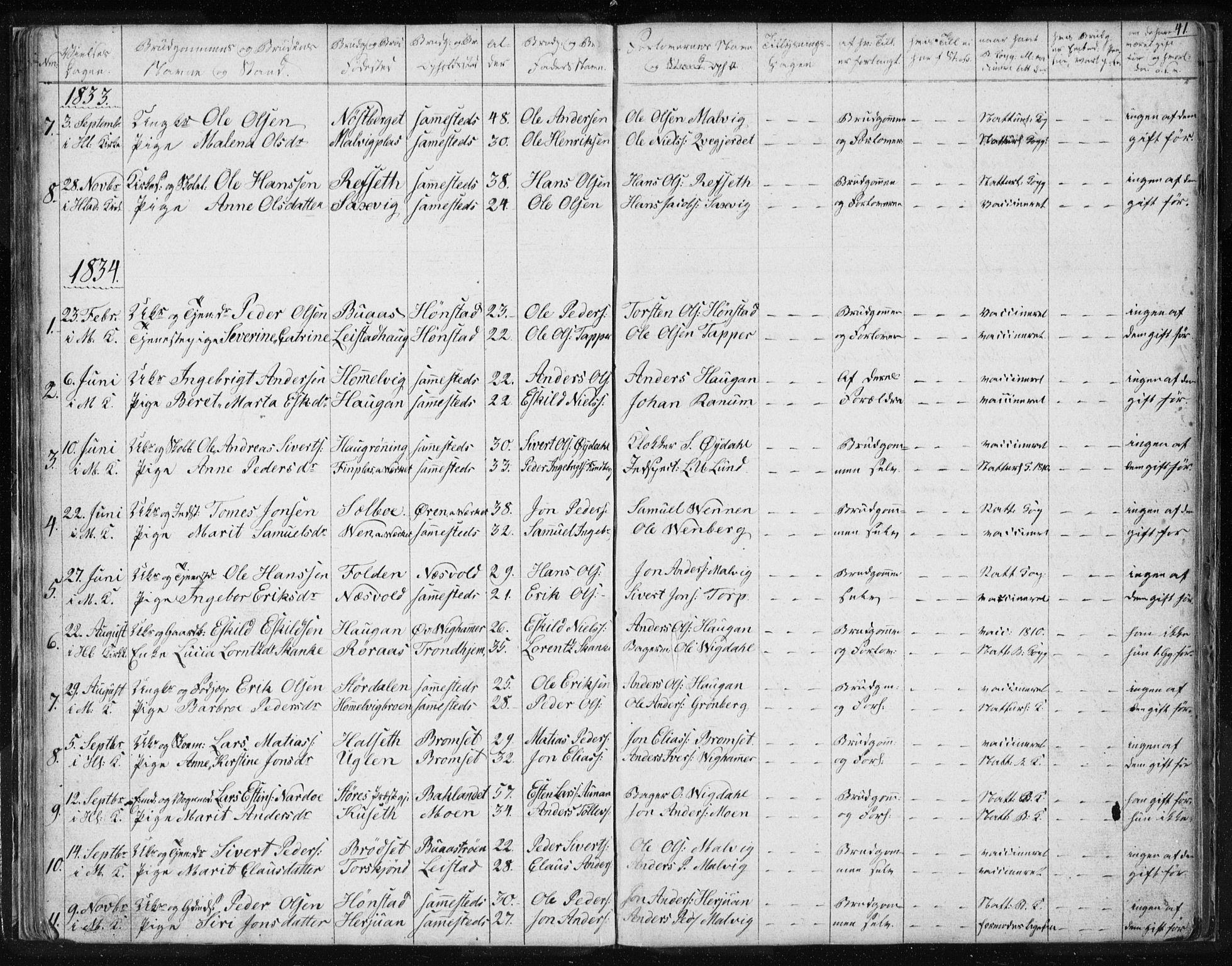 SAT, Ministerialprotokoller, klokkerbøker og fødselsregistre - Sør-Trøndelag, 616/L0405: Ministerialbok nr. 616A02, 1831-1842, s. 41