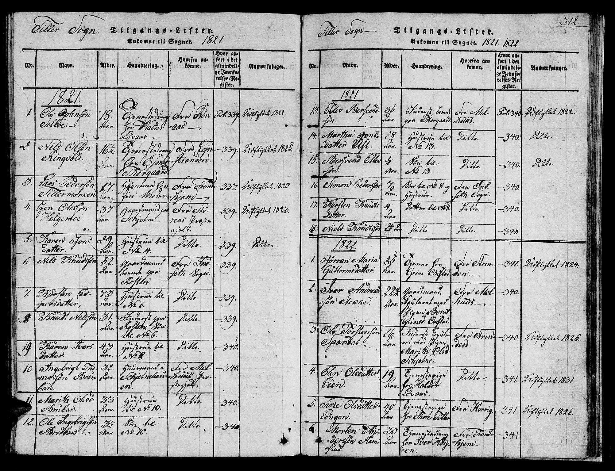 SAT, Ministerialprotokoller, klokkerbøker og fødselsregistre - Sør-Trøndelag, 621/L0458: Klokkerbok nr. 621C01, 1816-1865, s. 312
