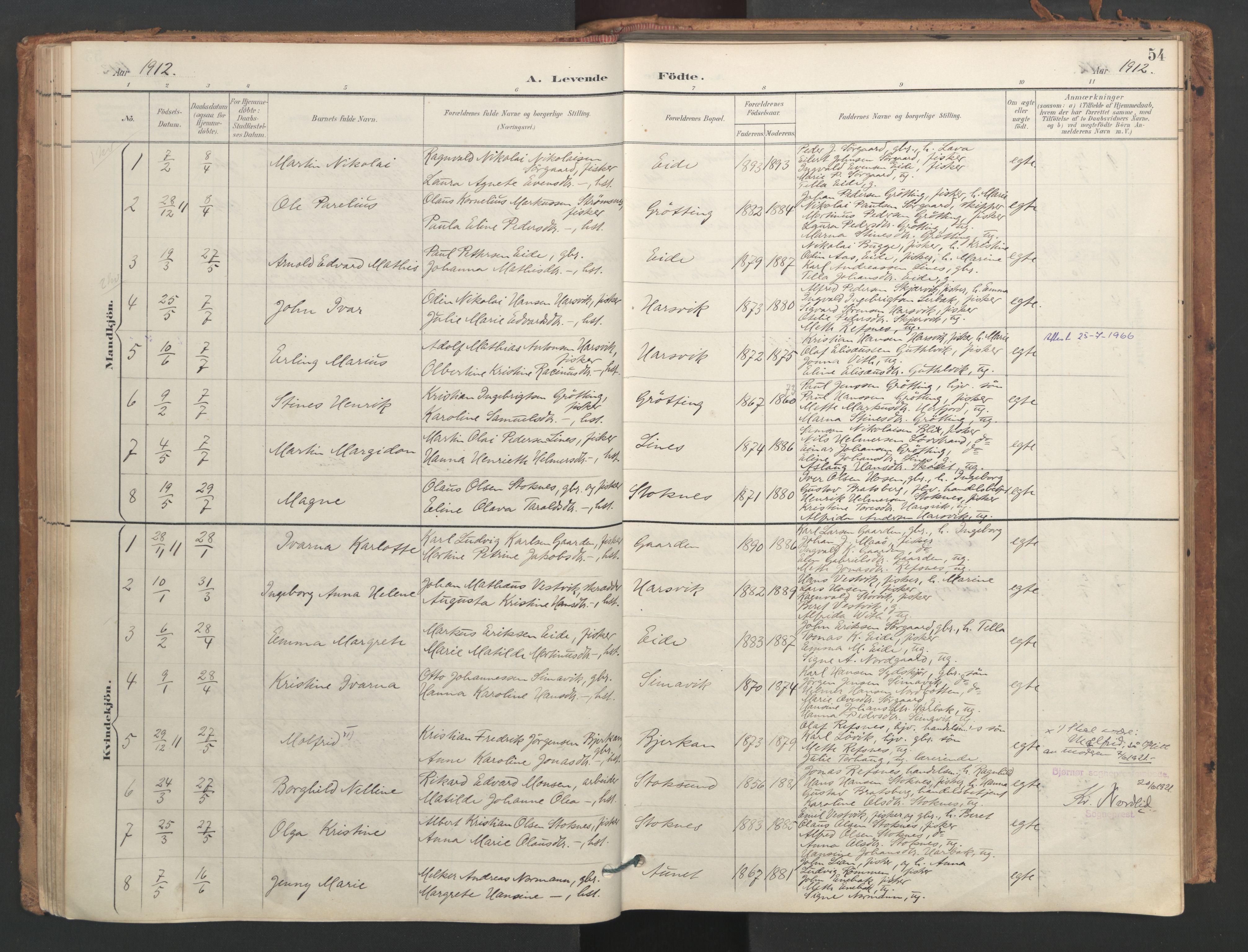 SAT, Ministerialprotokoller, klokkerbøker og fødselsregistre - Sør-Trøndelag, 656/L0693: Ministerialbok nr. 656A02, 1894-1913, s. 54