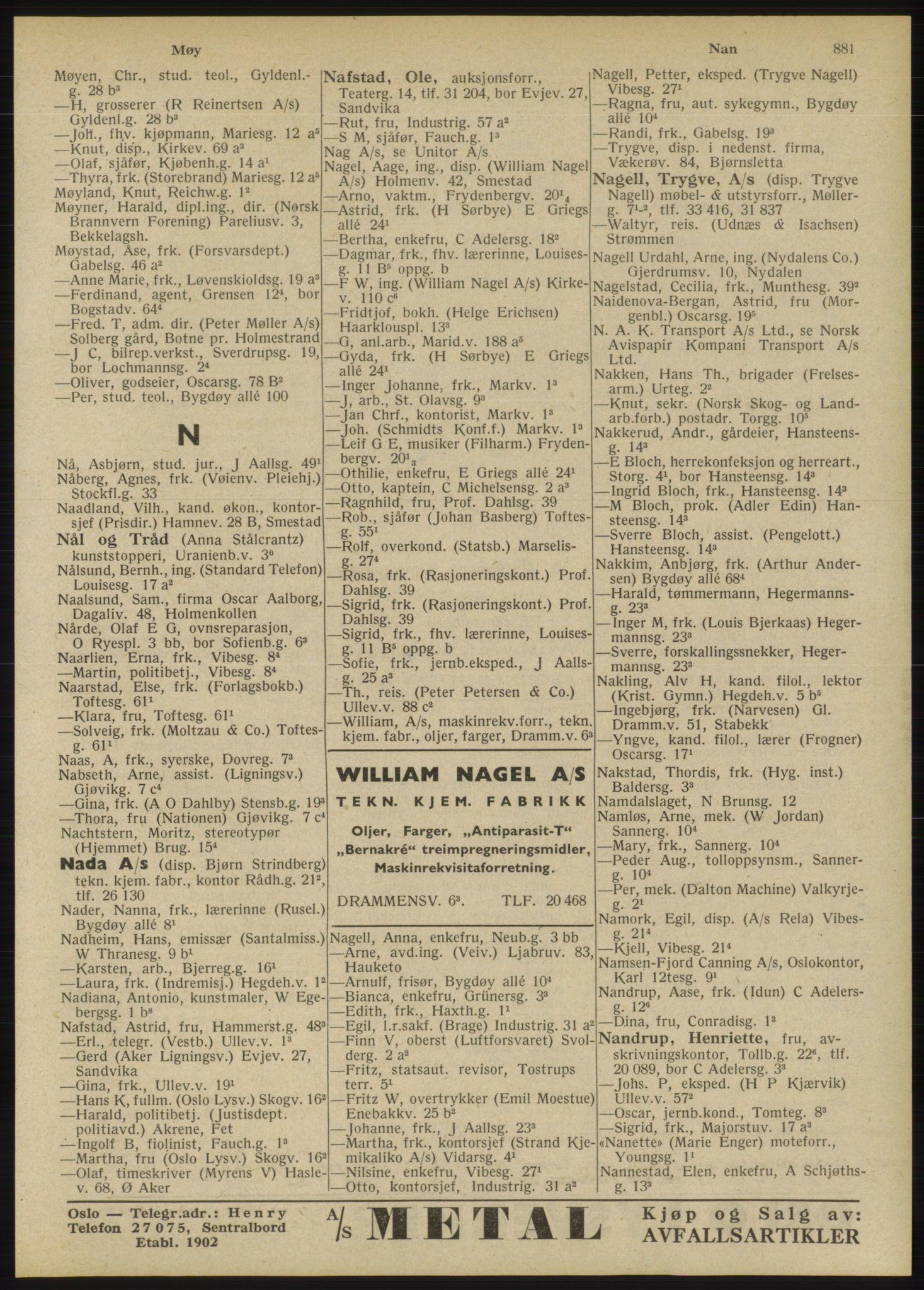 RA, Oslo adressebok (publikasjon)*, 1946, s. 881