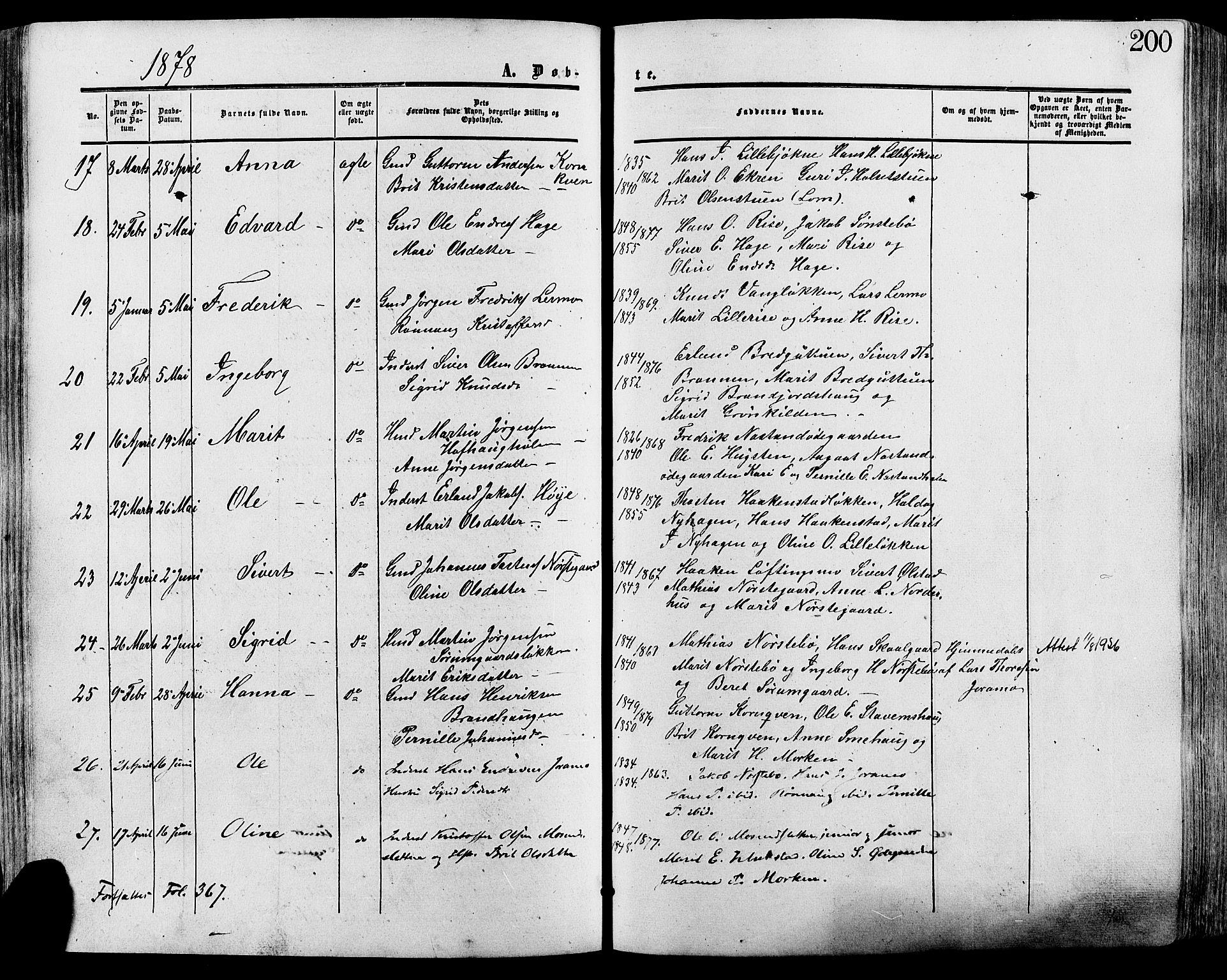 SAH, Lesja prestekontor, Ministerialbok nr. 8, 1854-1880, s. 200