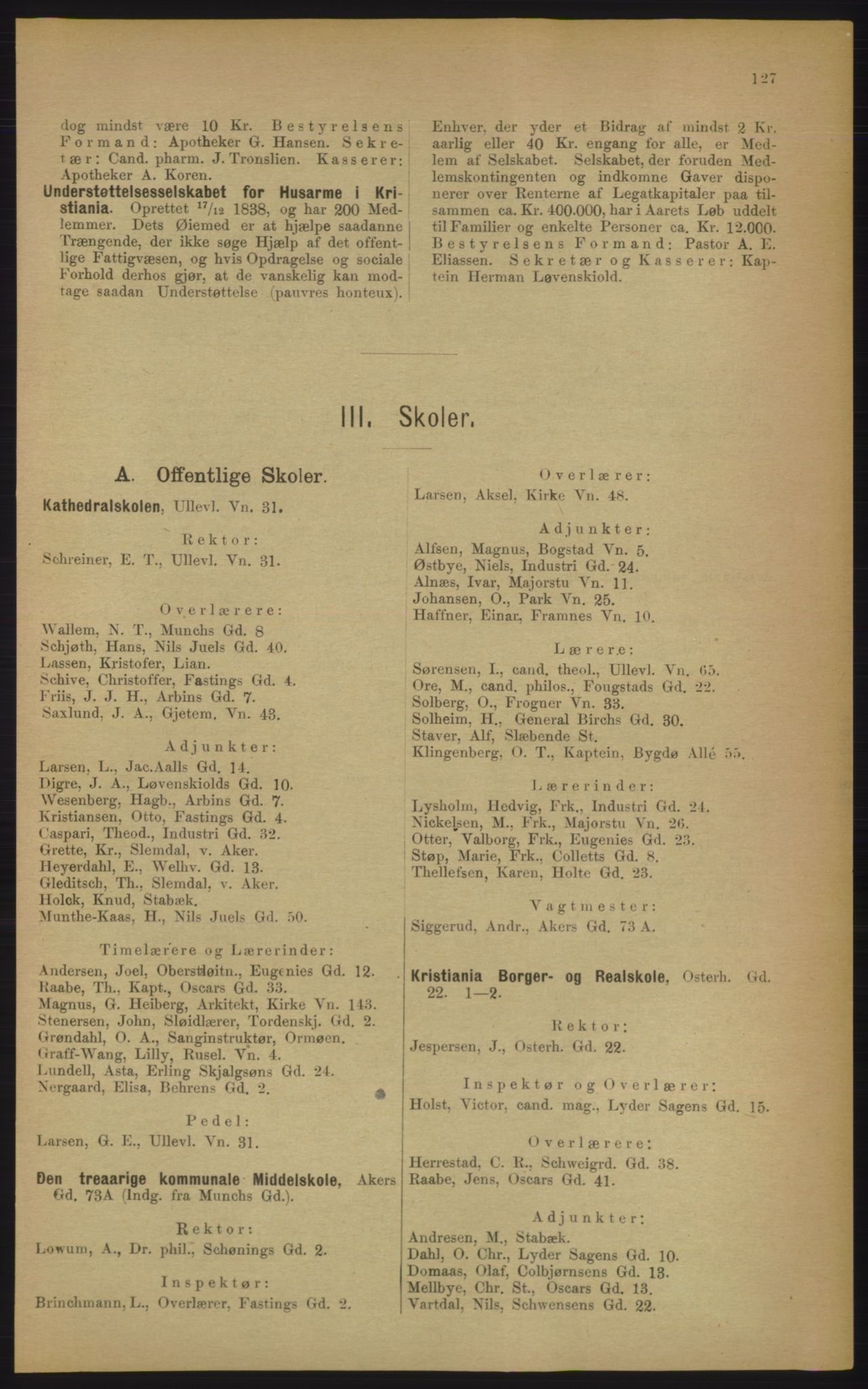 RA, Kristiania adressebok (publikasjon)*, 1906, s. 127