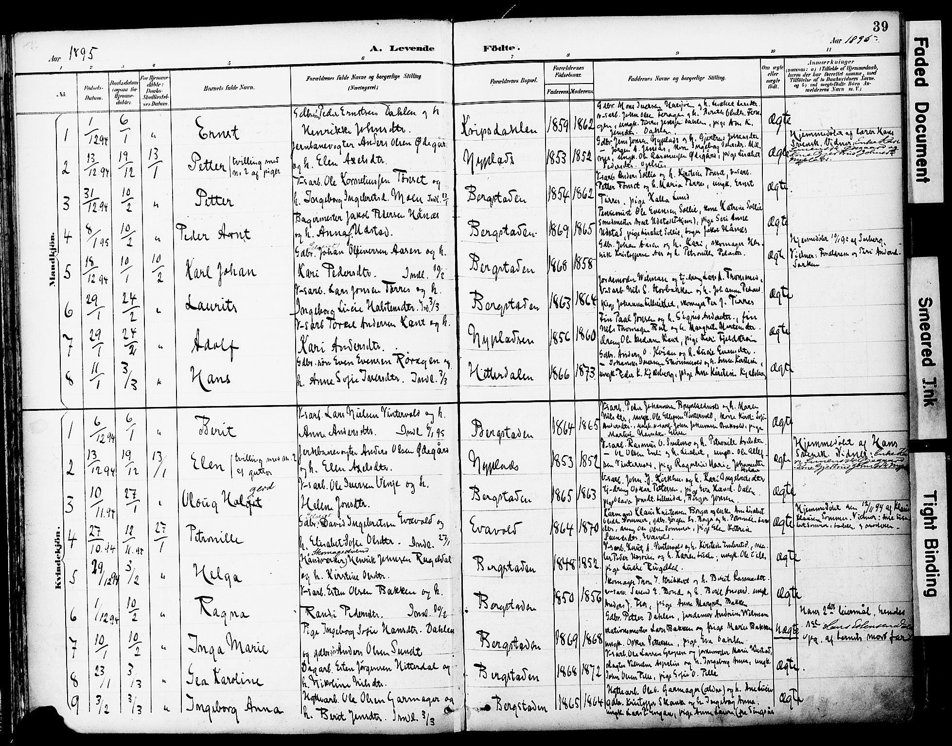 SAT, Ministerialprotokoller, klokkerbøker og fødselsregistre - Sør-Trøndelag, 681/L0935: Ministerialbok nr. 681A13, 1890-1898, s. 39