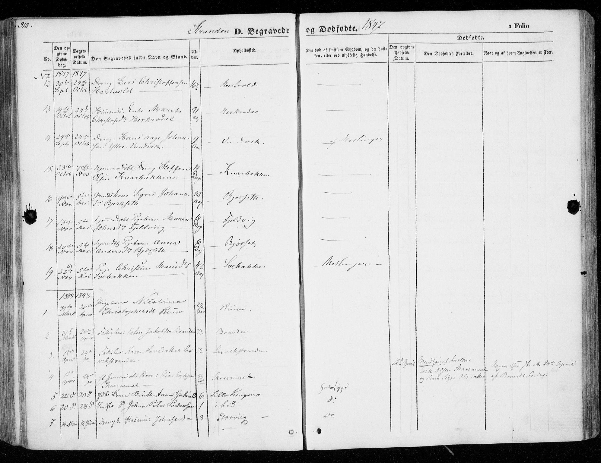 SAT, Ministerialprotokoller, klokkerbøker og fødselsregistre - Nord-Trøndelag, 701/L0007: Ministerialbok nr. 701A07 /2, 1842-1854, s. 312