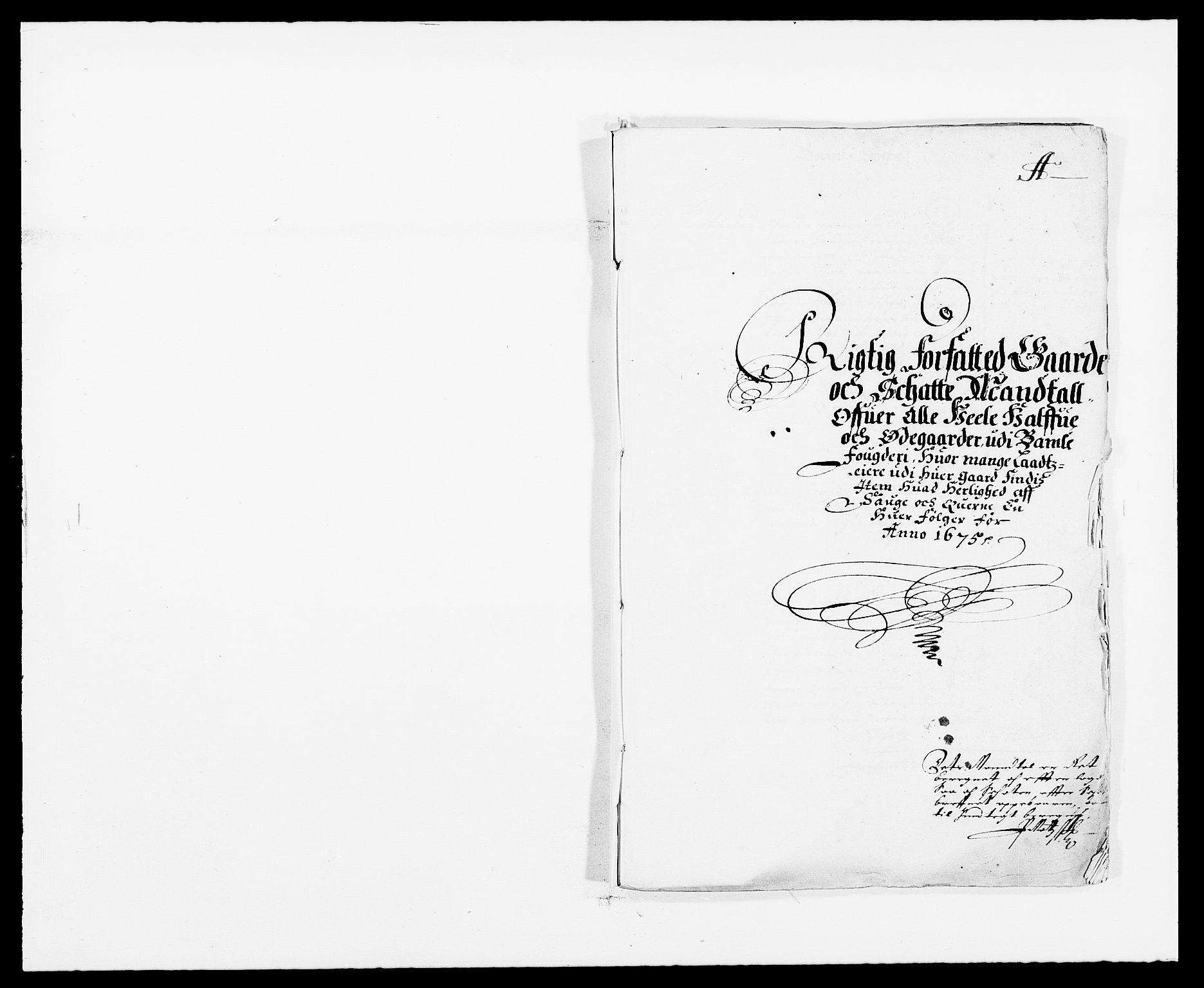 RA, Rentekammeret inntil 1814, Reviderte regnskaper, Fogderegnskap, R34/L2042: Fogderegnskap Bamble, 1673-1675, s. 281