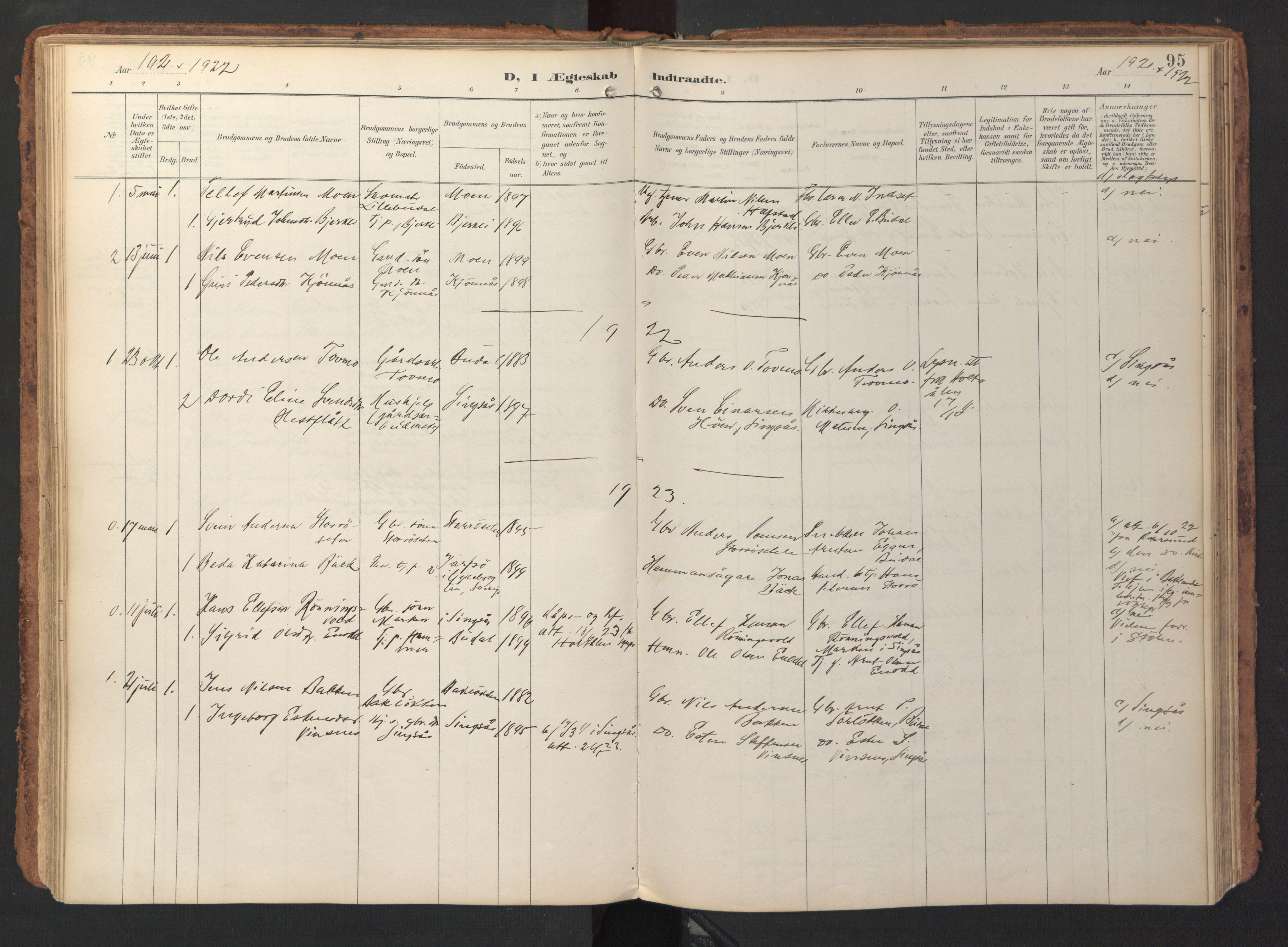 SAT, Ministerialprotokoller, klokkerbøker og fødselsregistre - Sør-Trøndelag, 690/L1050: Ministerialbok nr. 690A01, 1889-1929, s. 95