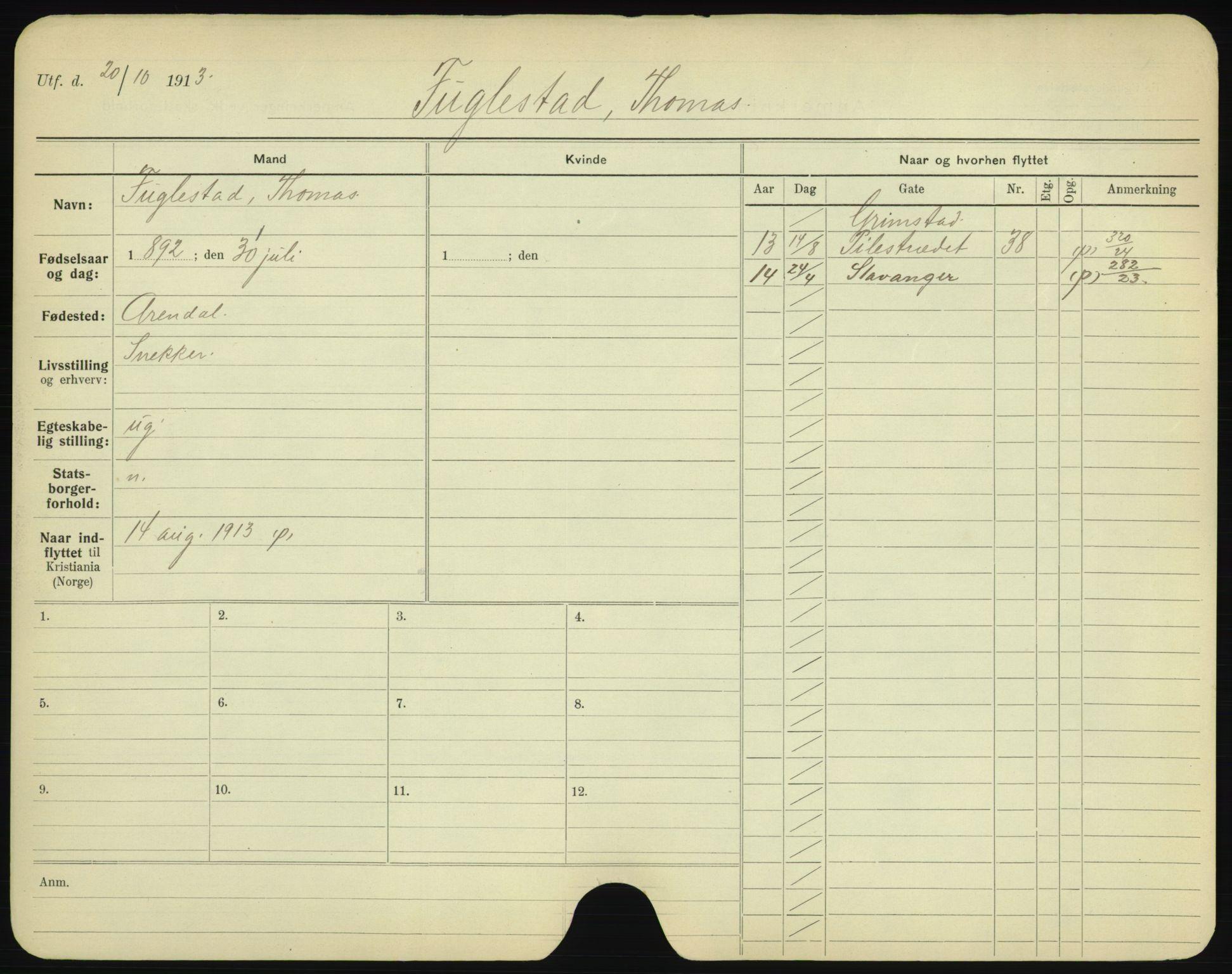 SAO, Oslo folkeregister, Registerkort, F/Fa/Fac/L0003: Menn, 1906-1914, s. 351a