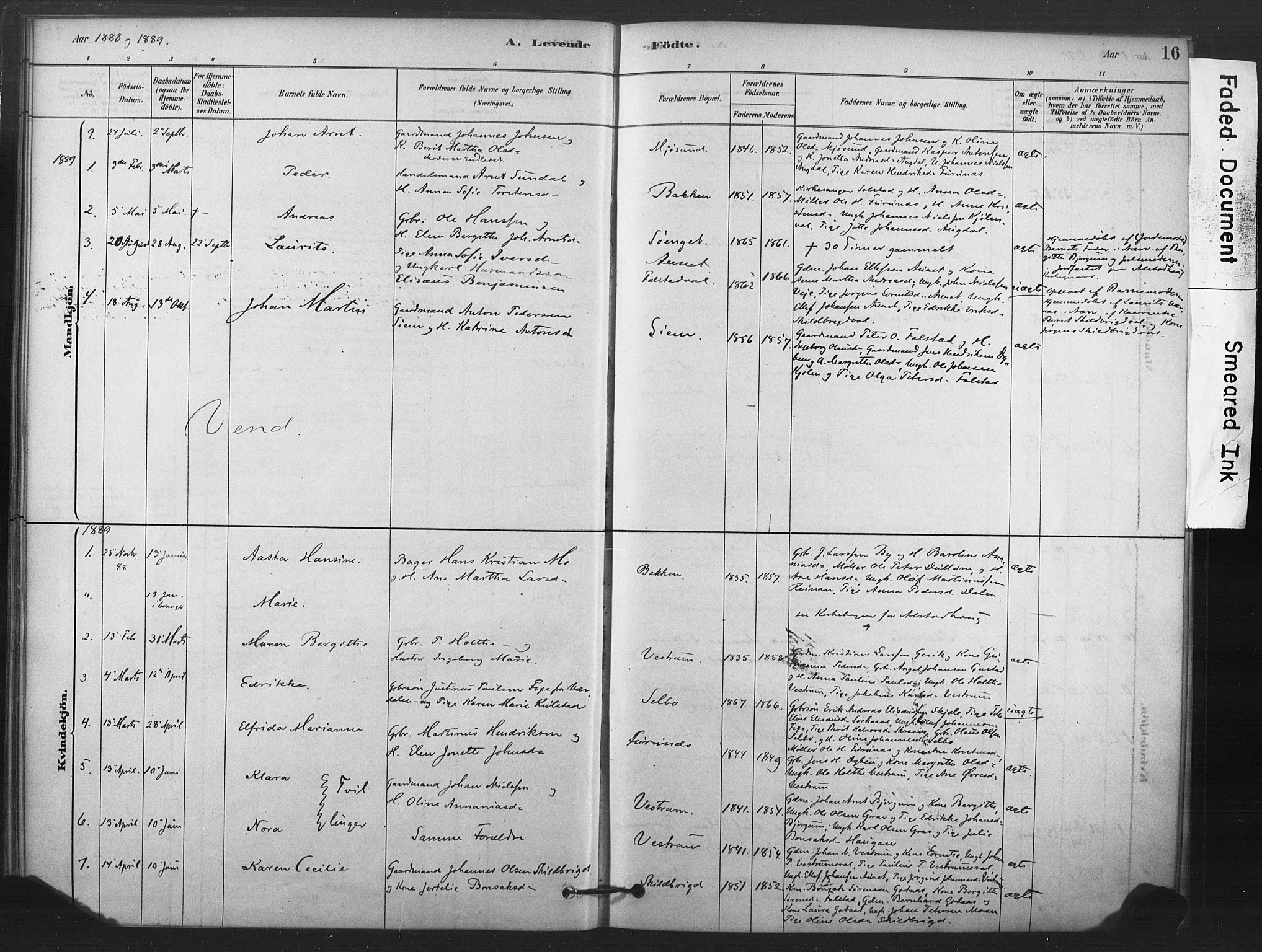 SAT, Ministerialprotokoller, klokkerbøker og fødselsregistre - Nord-Trøndelag, 719/L0178: Ministerialbok nr. 719A01, 1878-1900, s. 16