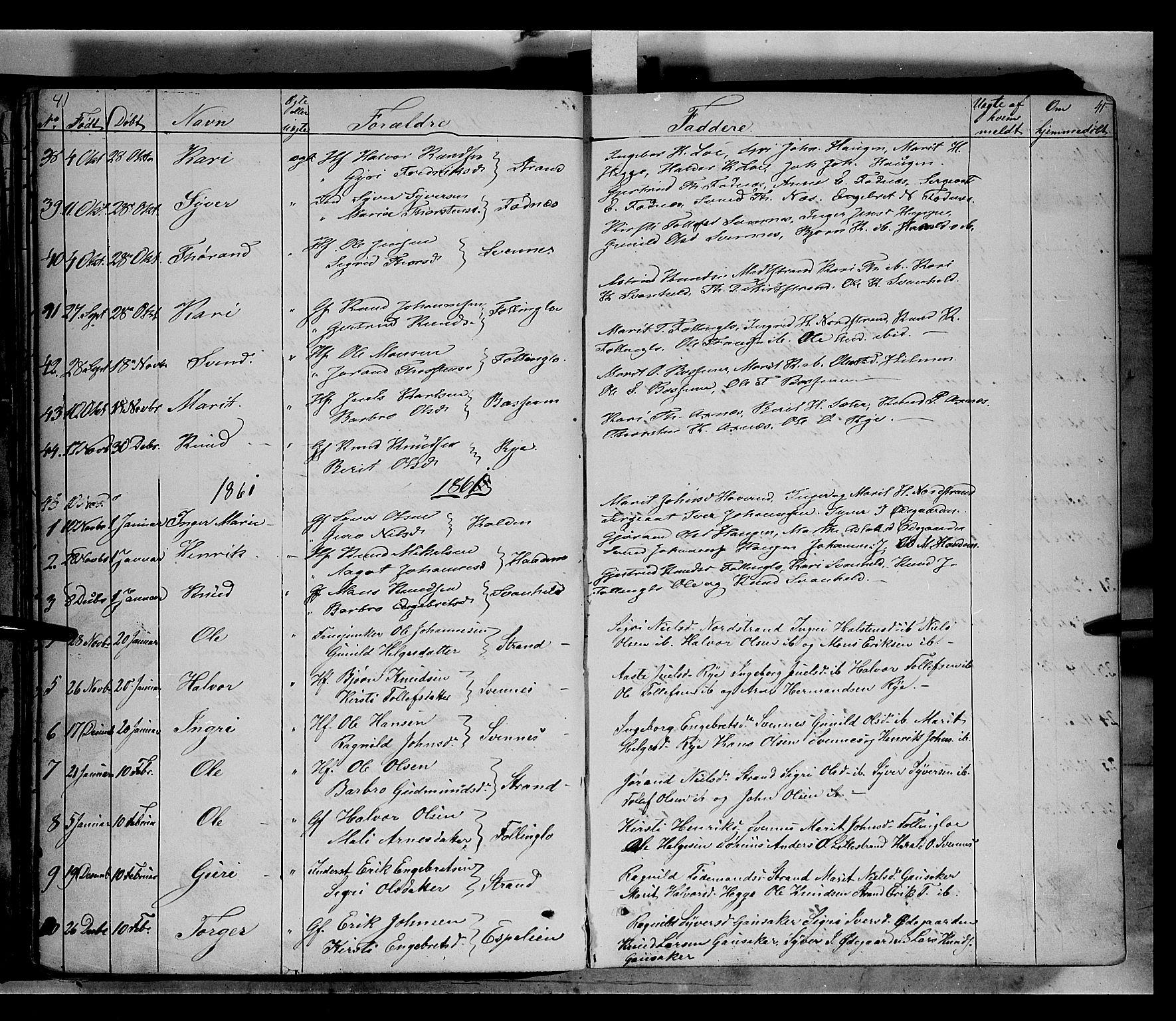 SAH, Nord-Aurdal prestekontor, Ministerialbok nr. 5, 1842-1863, s. 41