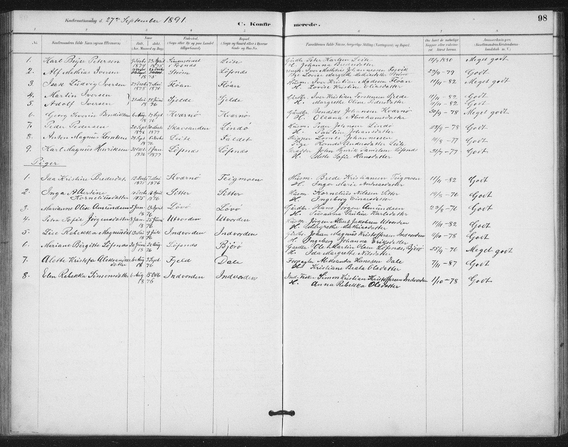 SAT, Ministerialprotokoller, klokkerbøker og fødselsregistre - Nord-Trøndelag, 772/L0603: Ministerialbok nr. 772A01, 1885-1912, s. 98