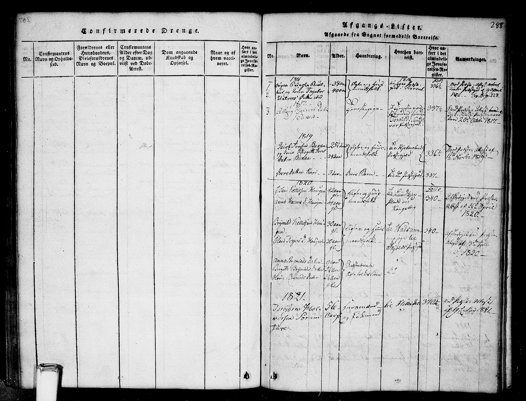 SAKO, Gransherad kirkebøker, G/Gb/L0001: Klokkerbok nr. II 1, 1815-1860, s. 288