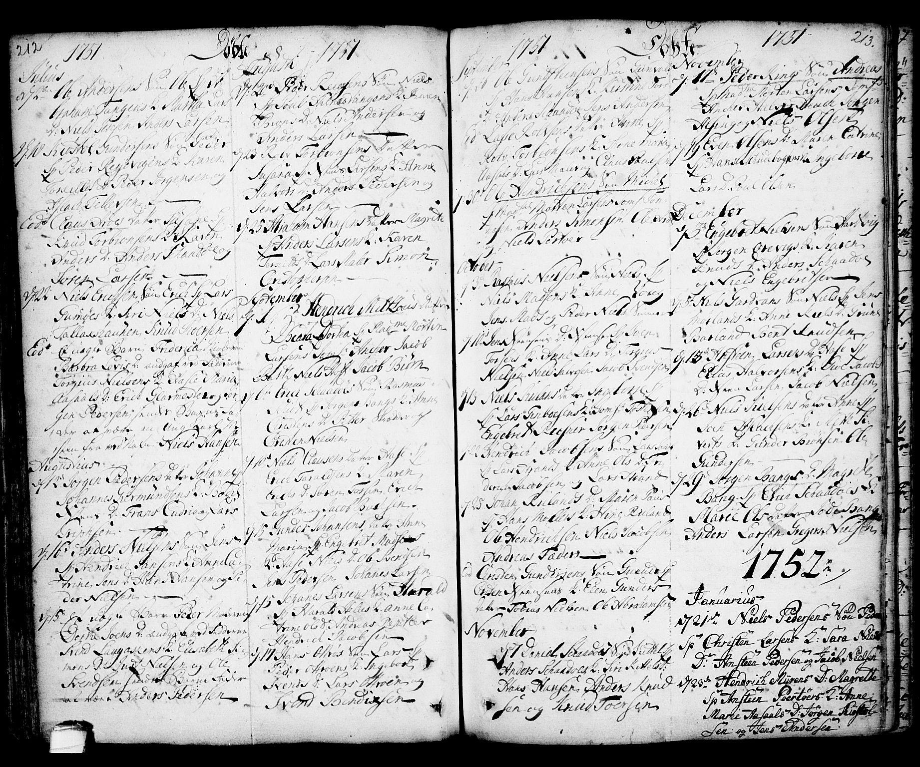 SAKO, Kragerø kirkebøker, F/Fa/L0001: Ministerialbok nr. 1, 1702-1766, s. 212-213