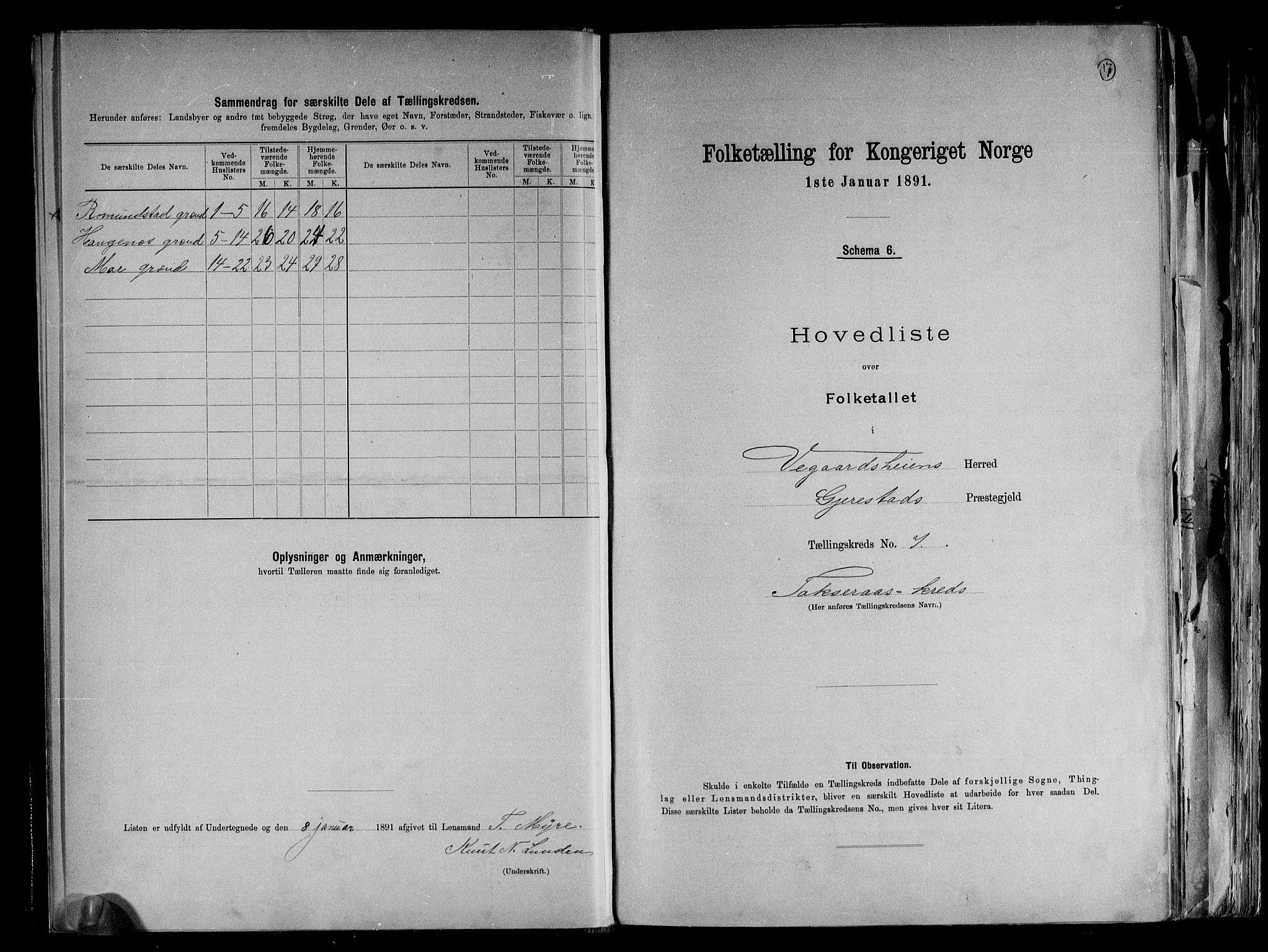 RA, Folketelling 1891 for 0912 Vegårshei herred, 1891, s. 17