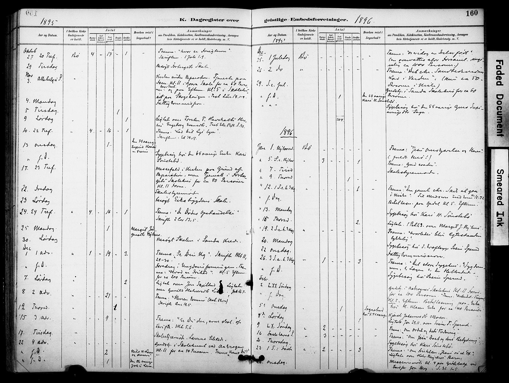 SAKO, Bø kirkebøker, F/Fa/L0011: Ministerialbok nr. 11, 1892-1900, s. 160