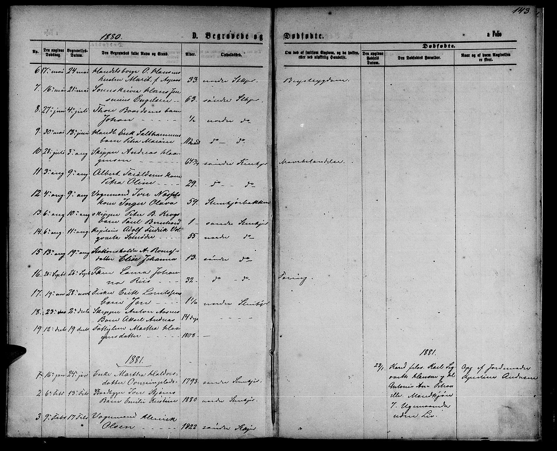 SAT, Ministerialprotokoller, klokkerbøker og fødselsregistre - Nord-Trøndelag, 739/L0373: Klokkerbok nr. 739C01, 1865-1882, s. 143