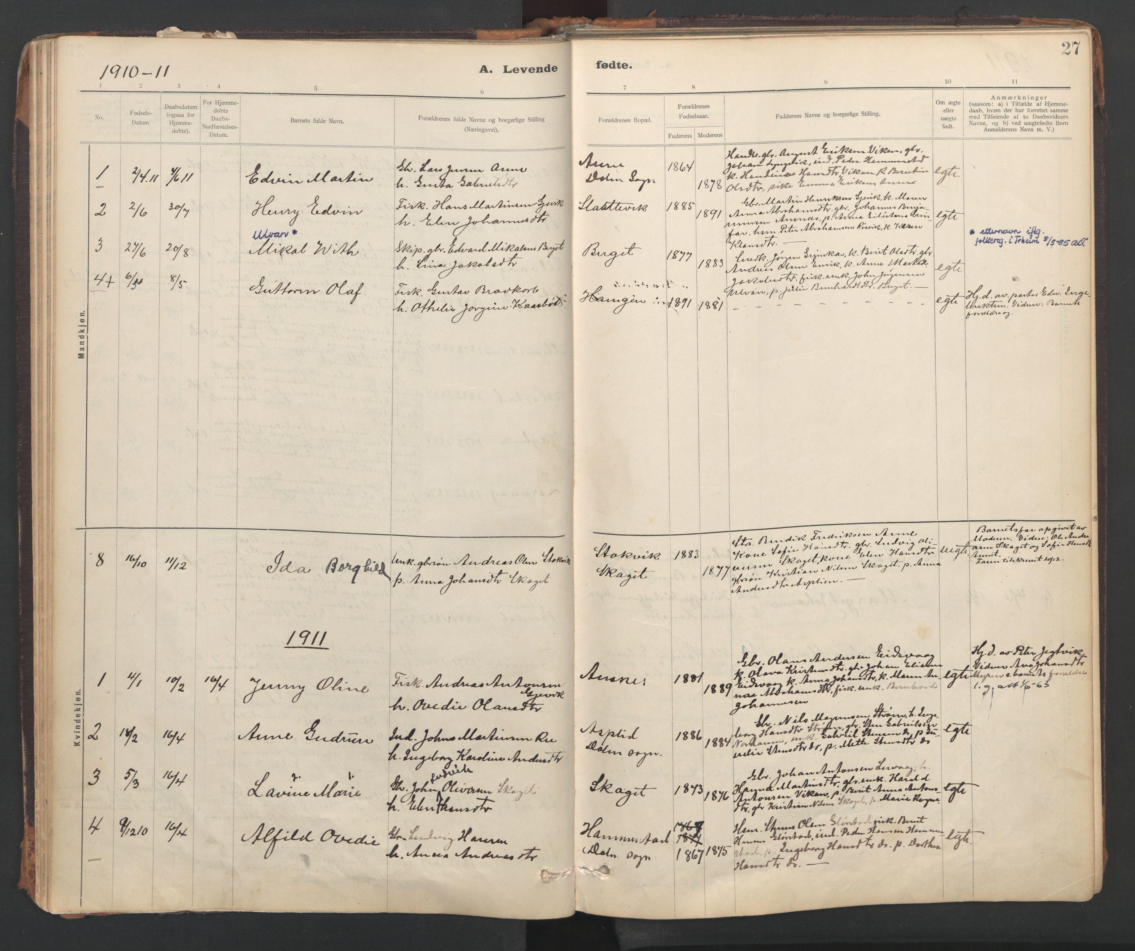 SAT, Ministerialprotokoller, klokkerbøker og fødselsregistre - Sør-Trøndelag, 637/L0559: Ministerialbok nr. 637A02, 1899-1923, s. 27
