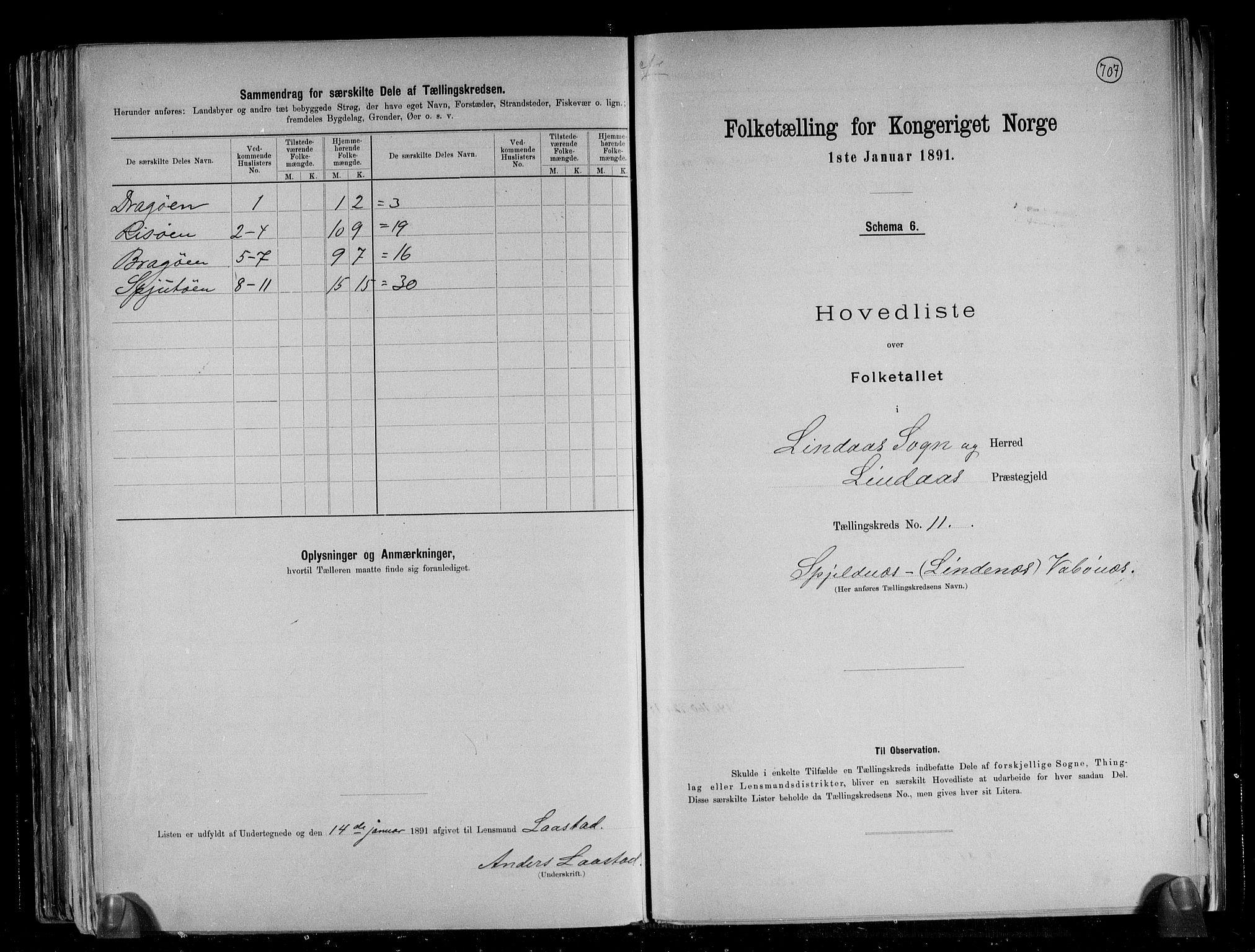 RA, Folketelling 1891 for 1263 Lindås herred, 1891, s. 25