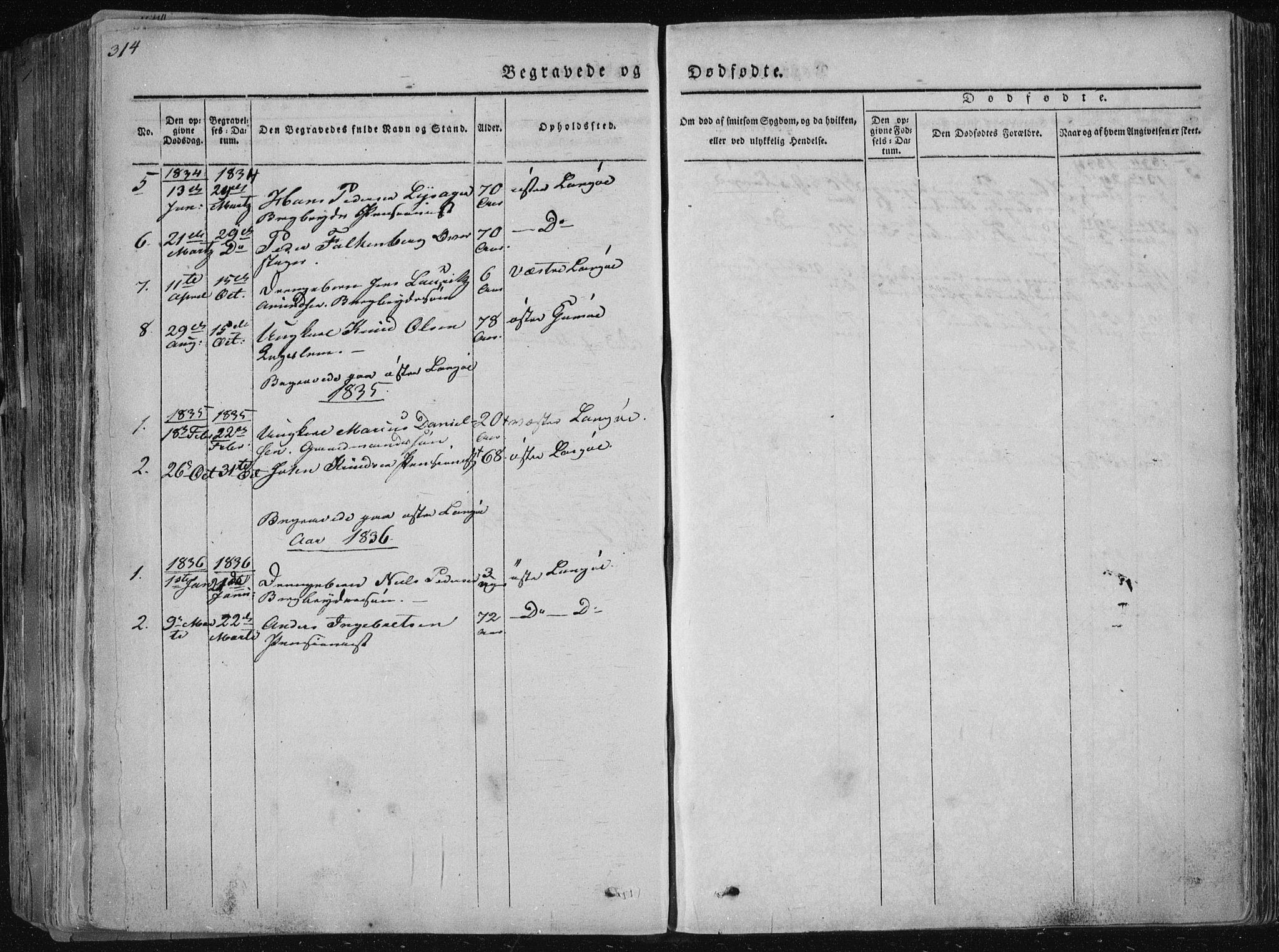 SAKO, Sannidal kirkebøker, F/Fa/L0006: Ministerialbok nr. 6, 1831-1847, s. 314