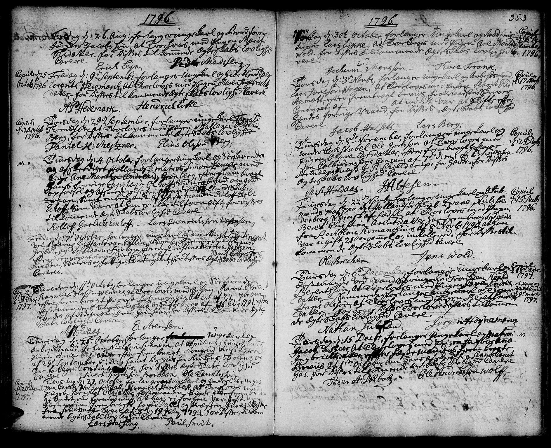 SAT, Ministerialprotokoller, klokkerbøker og fødselsregistre - Sør-Trøndelag, 601/L0038: Ministerialbok nr. 601A06, 1766-1877, s. 353