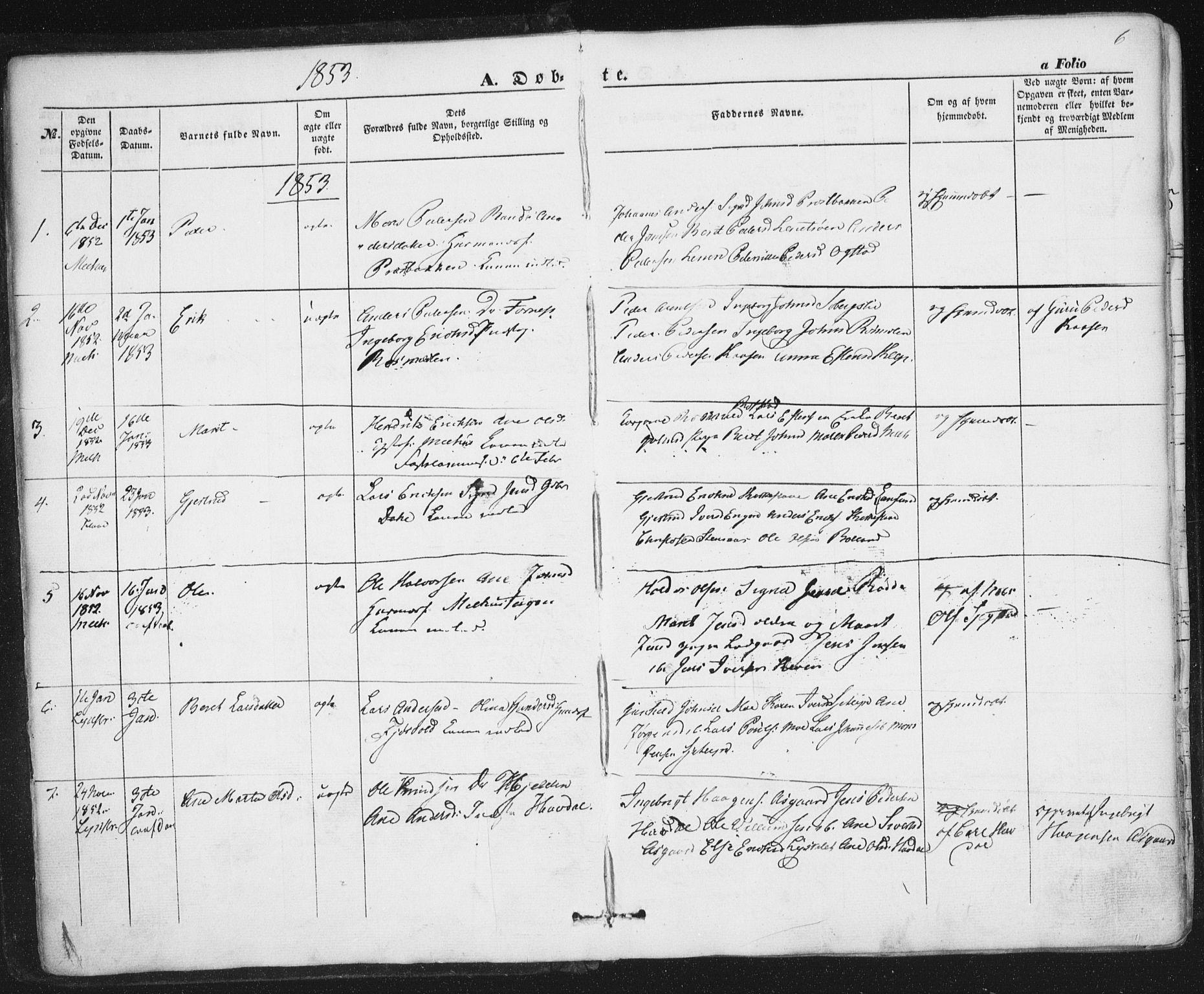 SAT, Ministerialprotokoller, klokkerbøker og fødselsregistre - Sør-Trøndelag, 691/L1076: Ministerialbok nr. 691A08, 1852-1861, s. 6