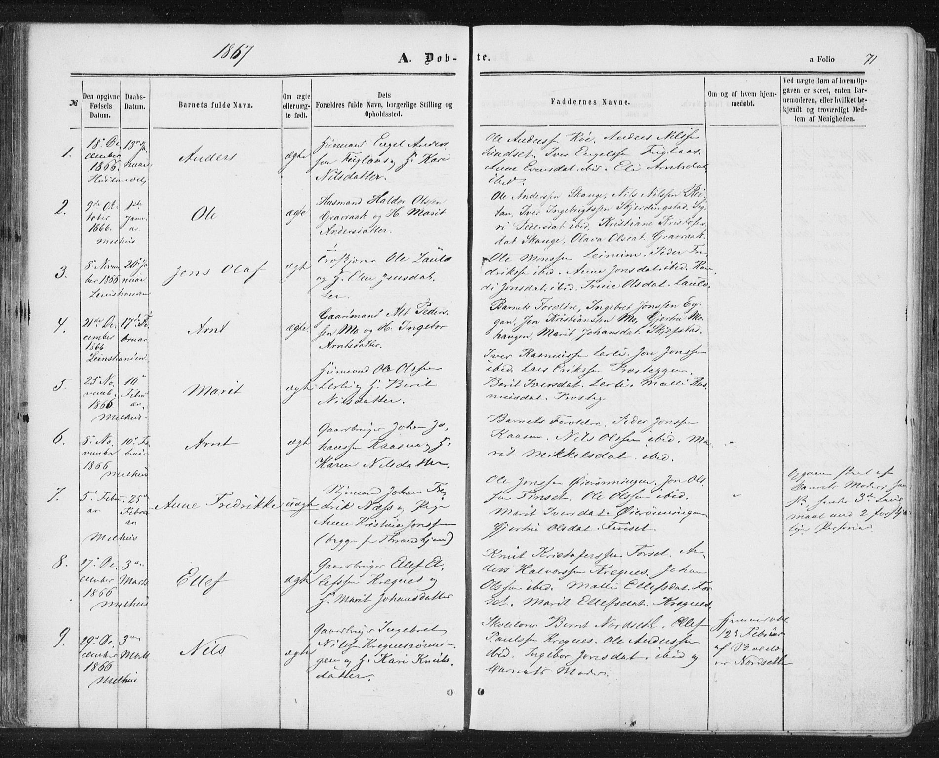 SAT, Ministerialprotokoller, klokkerbøker og fødselsregistre - Sør-Trøndelag, 691/L1077: Ministerialbok nr. 691A09, 1862-1873, s. 71