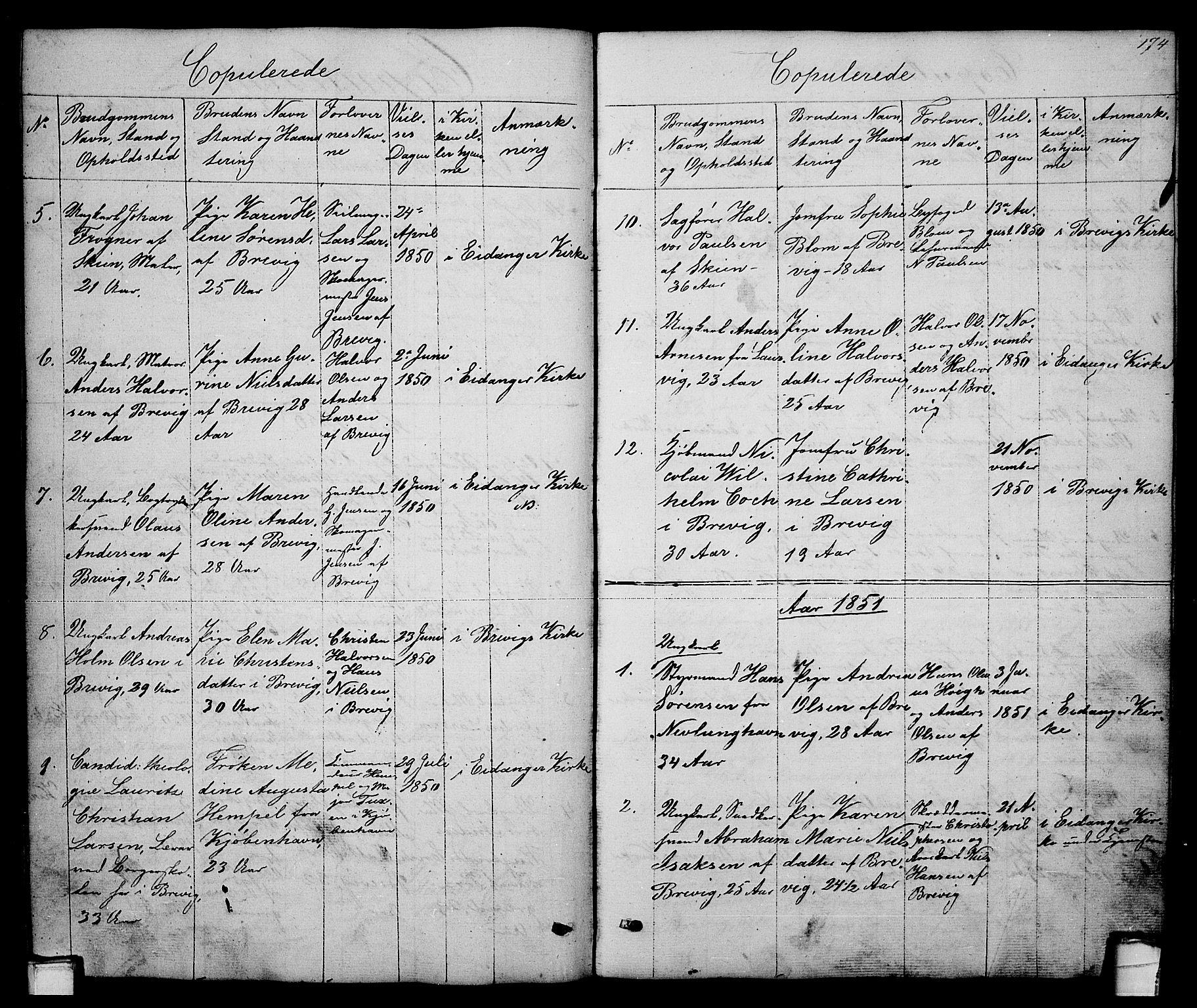 SAKO, Brevik kirkebøker, G/Ga/L0002: Klokkerbok nr. 2, 1846-1865, s. 174