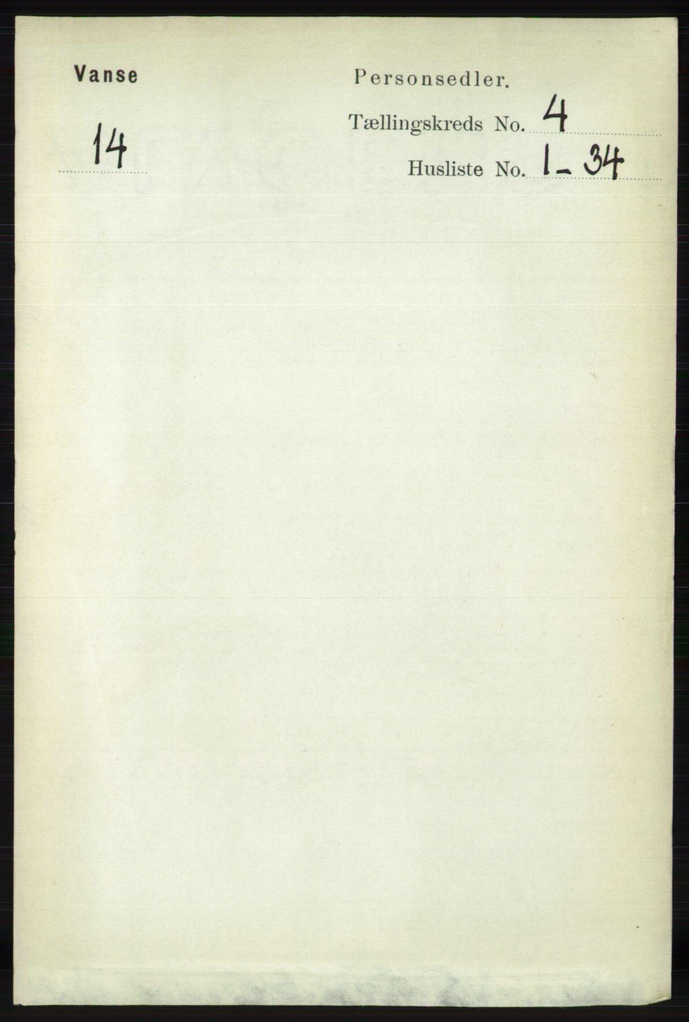RA, Folketelling 1891 for 1041 Vanse herred, 1891, s. 2142