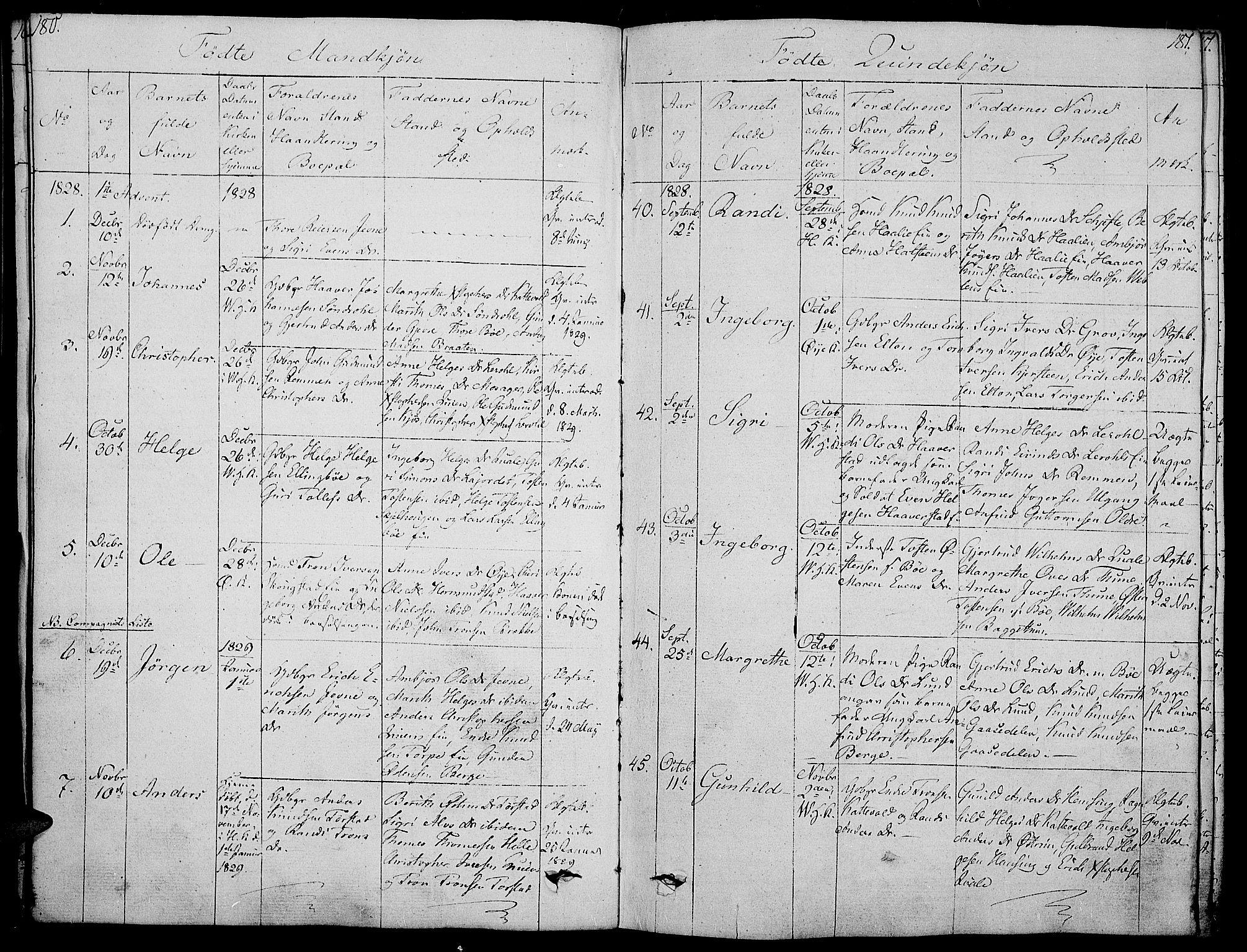 SAH, Vang prestekontor, Valdres, Ministerialbok nr. 3, 1809-1831, s. 180-181
