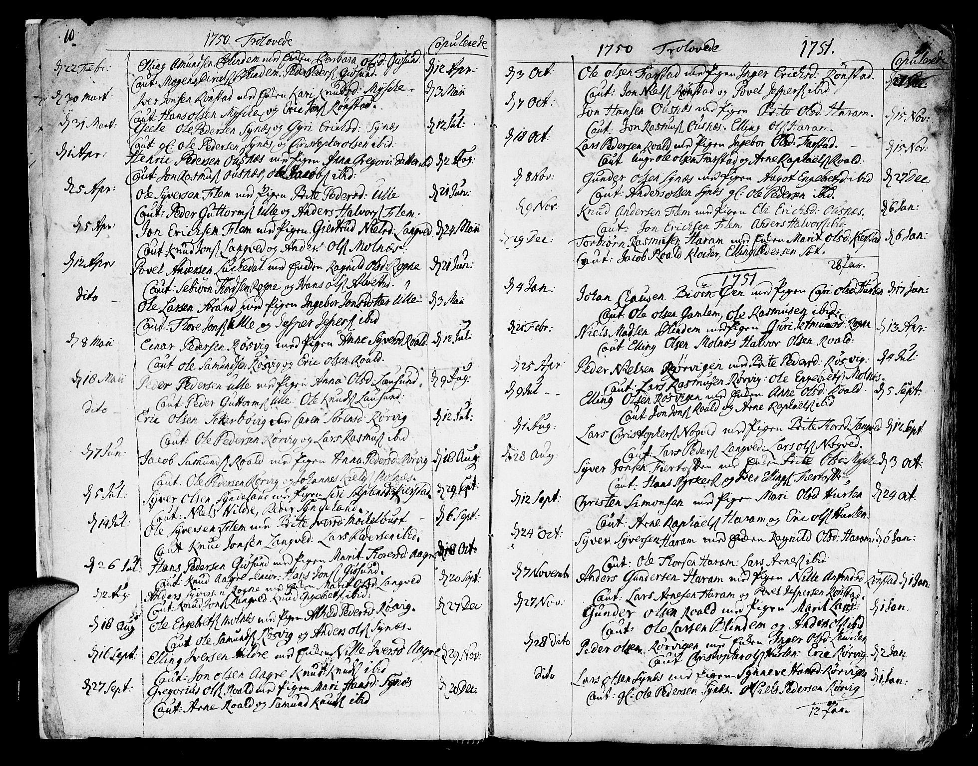 SAT, Ministerialprotokoller, klokkerbøker og fødselsregistre - Møre og Romsdal, 536/L0493: Ministerialbok nr. 536A02, 1739-1802, s. 10-11