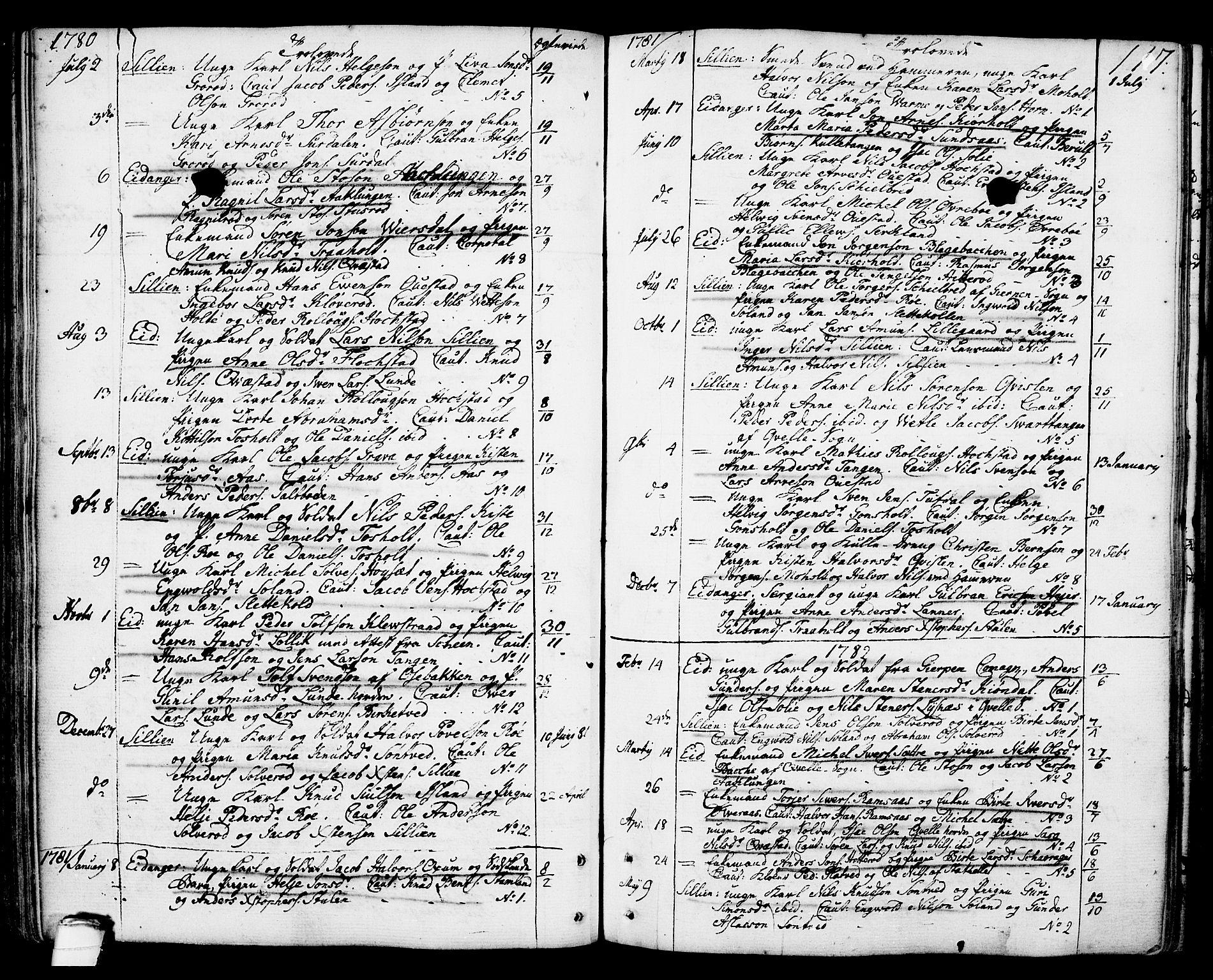 SAKO, Eidanger kirkebøker, F/Fa/L0006: Ministerialbok nr. 6, 1764-1814, s. 117