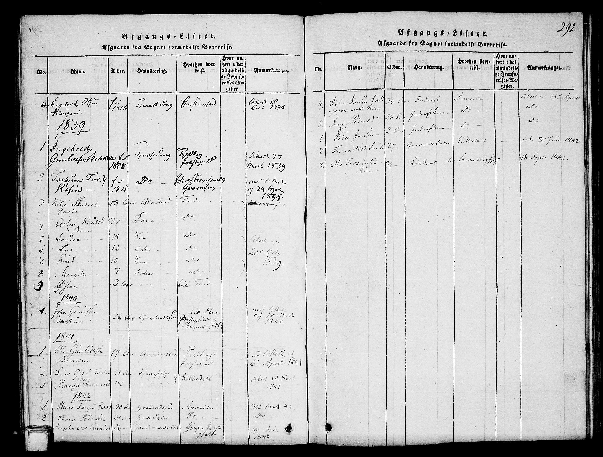 SAKO, Hjartdal kirkebøker, G/Gc/L0001: Klokkerbok nr. III 1, 1815-1842, s. 292