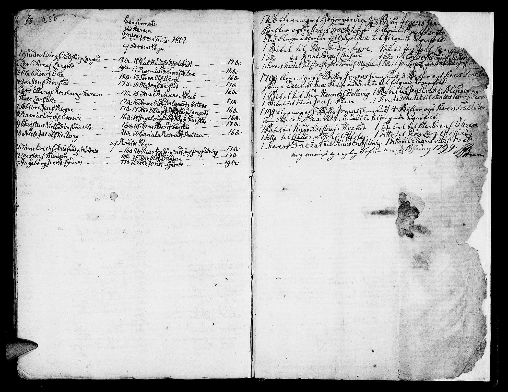 SAT, Ministerialprotokoller, klokkerbøker og fødselsregistre - Møre og Romsdal, 536/L0493: Ministerialbok nr. 536A02, 1739-1802, s. 358-359