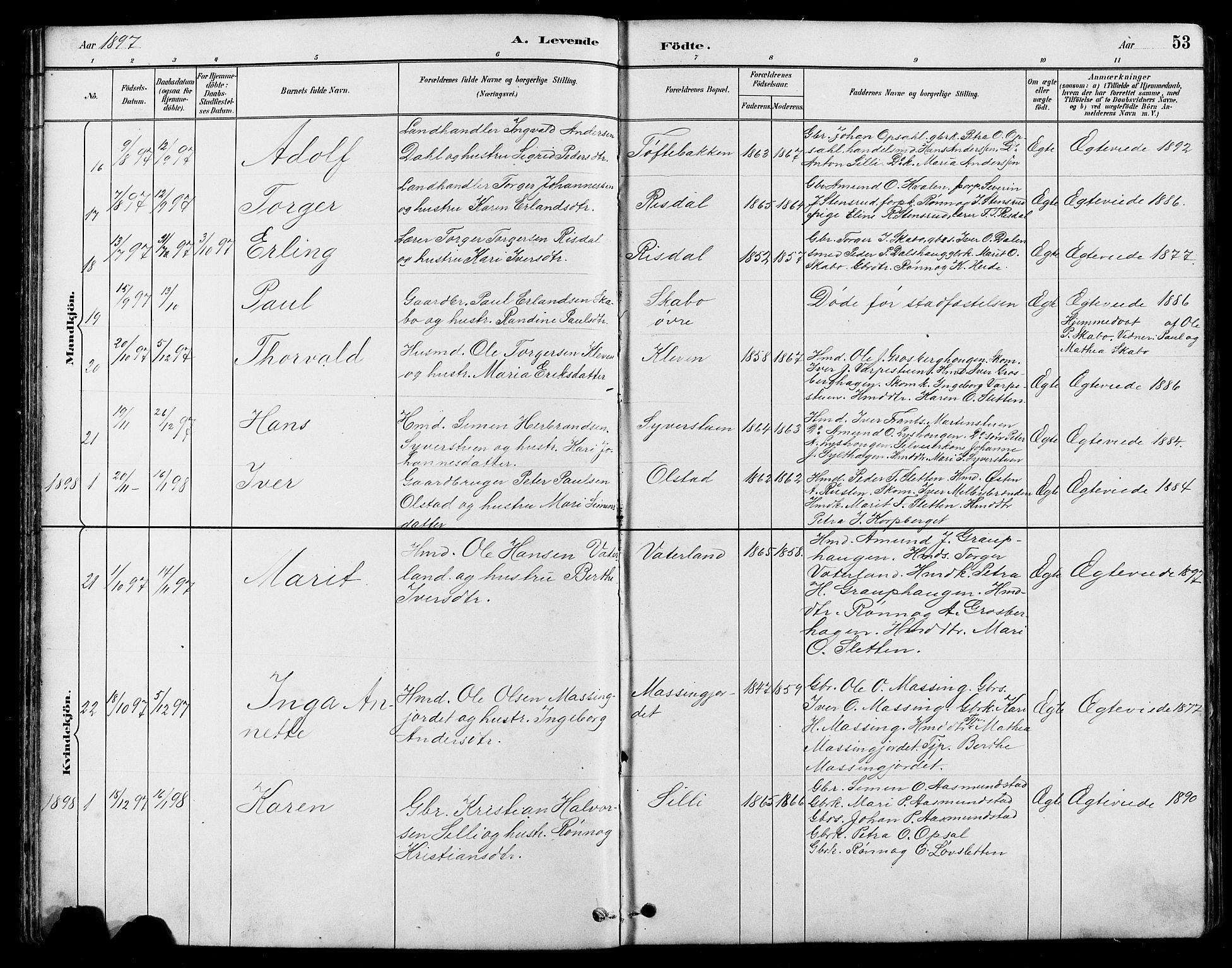 SAH, Nord-Fron prestekontor, Klokkerbok nr. 5, 1884-1914, s. 53