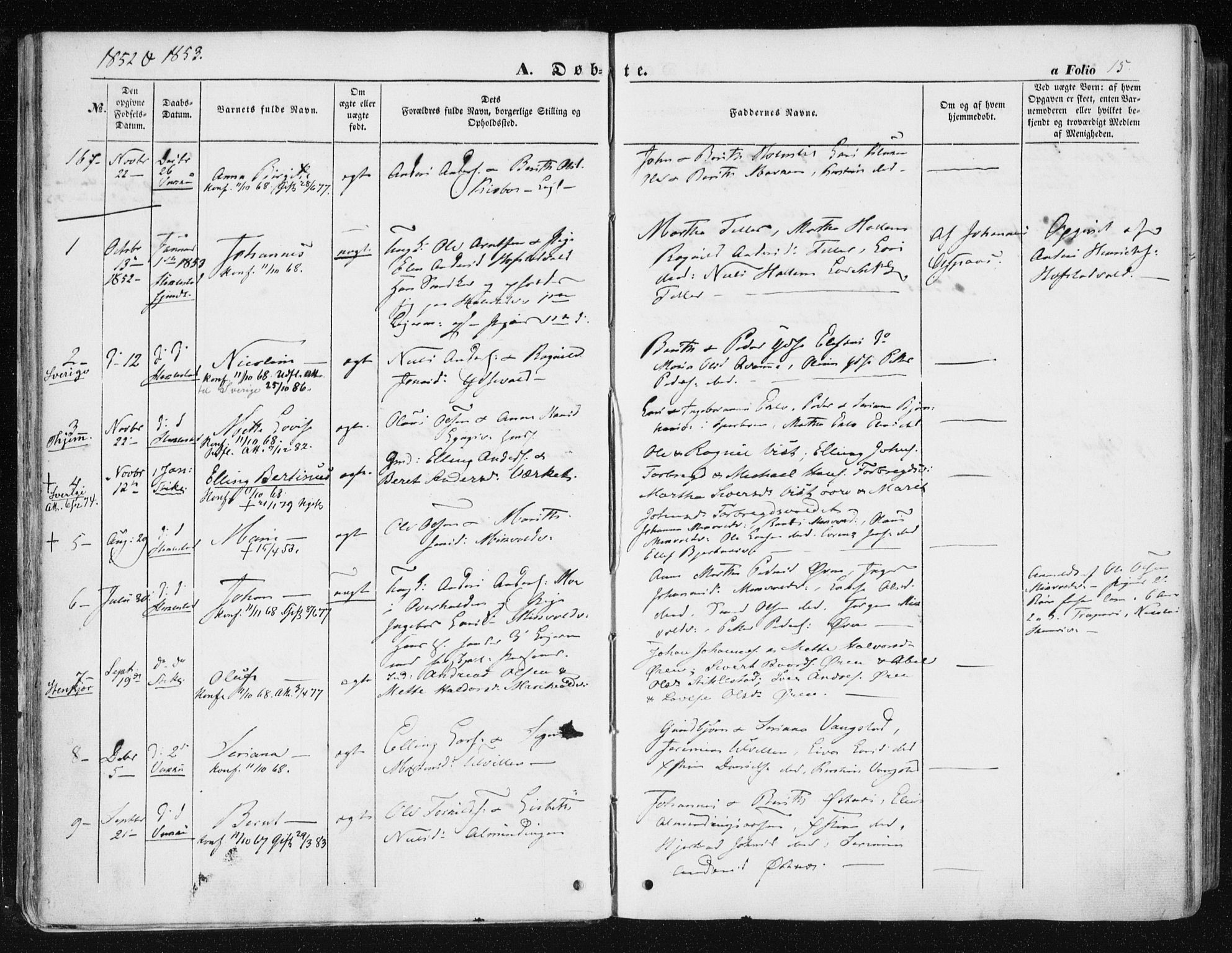 SAT, Ministerialprotokoller, klokkerbøker og fødselsregistre - Nord-Trøndelag, 723/L0240: Ministerialbok nr. 723A09, 1852-1860, s. 15
