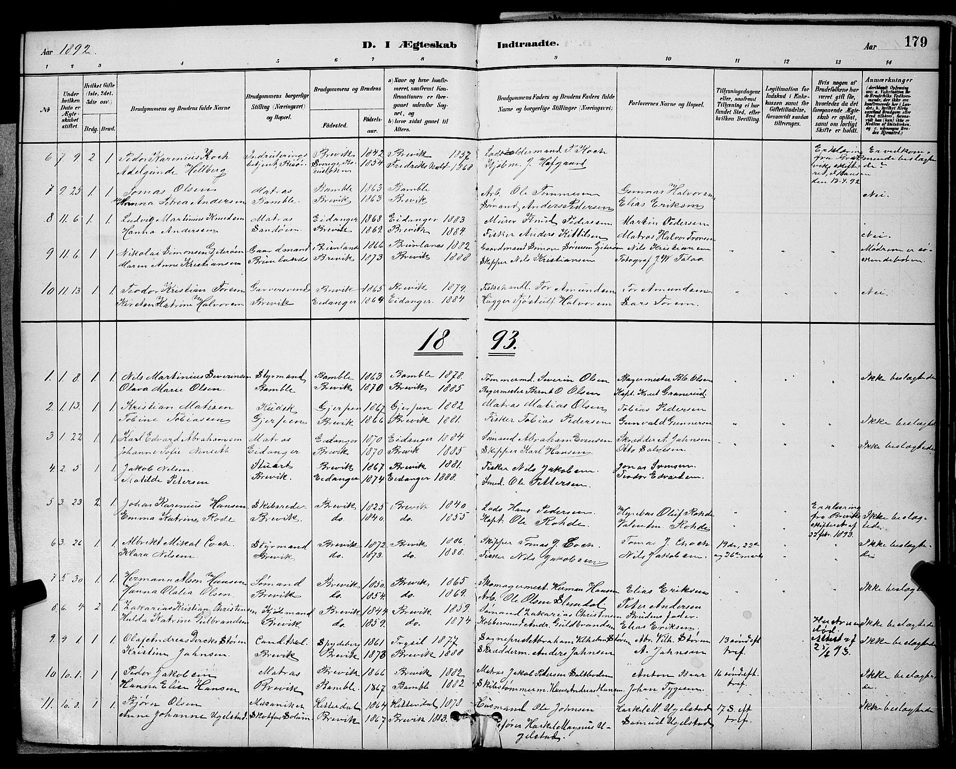 SAKO, Brevik kirkebøker, G/Ga/L0004: Klokkerbok nr. 4, 1882-1900, s. 179