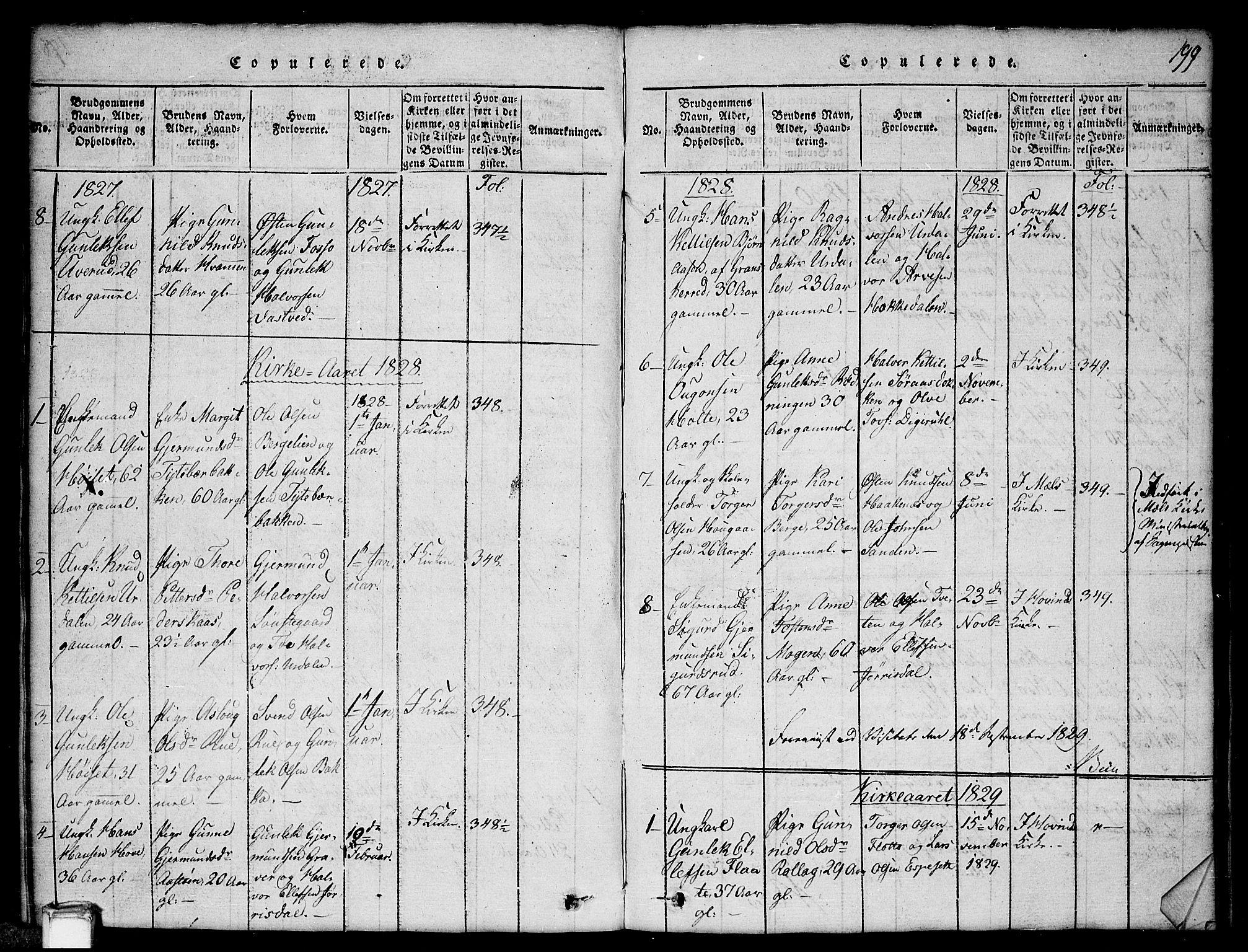 SAKO, Gransherad kirkebøker, G/Gb/L0001: Klokkerbok nr. II 1, 1815-1860, s. 199