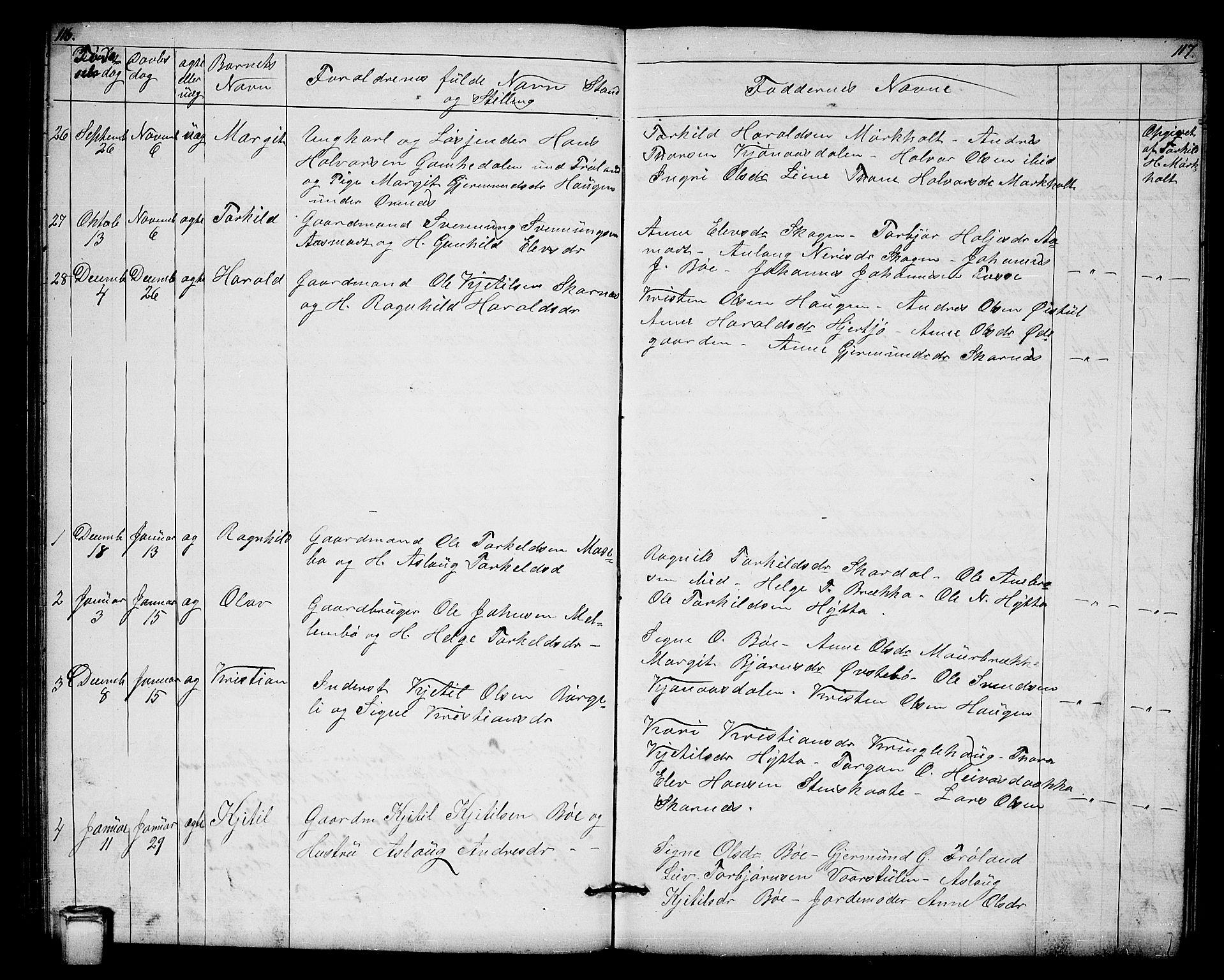 SAKO, Hjartdal kirkebøker, G/Gb/L0002: Klokkerbok nr. II 2, 1854-1884, s. 116-117