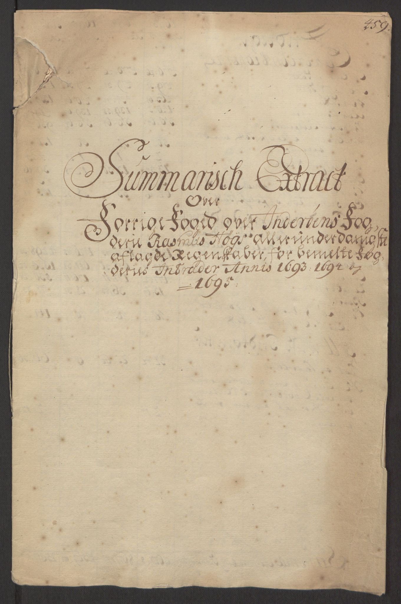 RA, Rentekammeret inntil 1814, Reviderte regnskaper, Fogderegnskap, R63/L4309: Fogderegnskap Inderøy, 1695-1697, s. 12