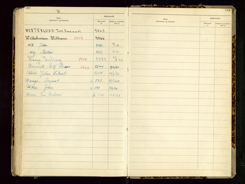 SAST, Haugesund sjømannskontor, F/Fb/Fba/L0007: Navneregister med henvisning til rullenummer (etternavn) Haugesund krets , 1944, s. 387