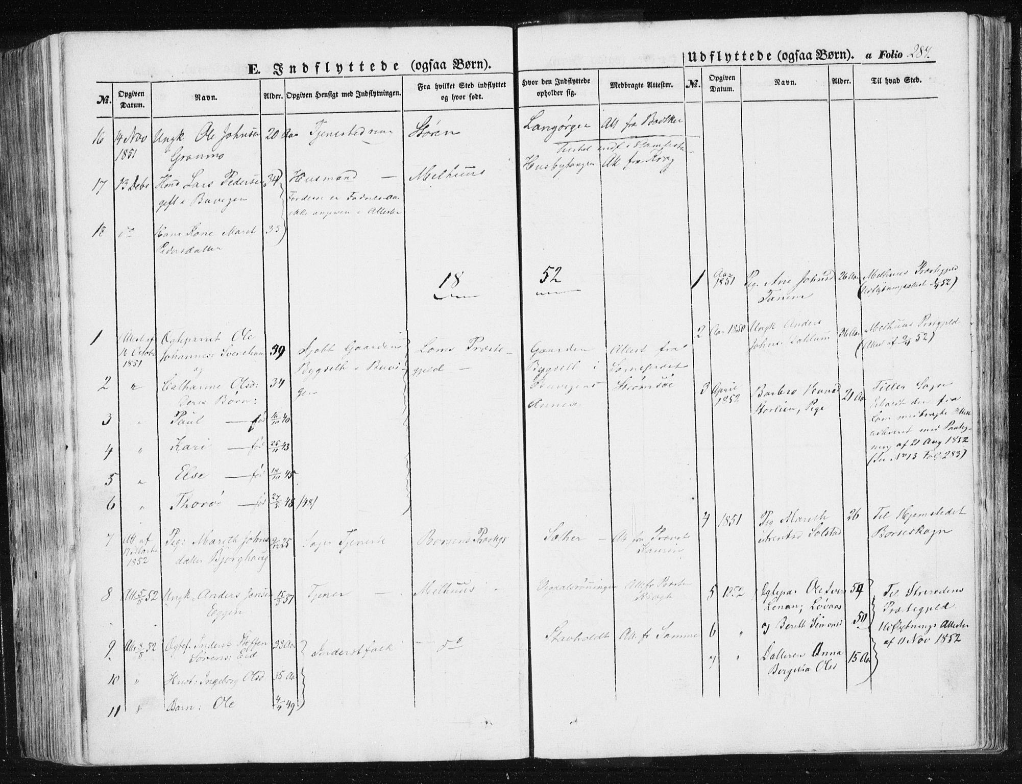 SAT, Ministerialprotokoller, klokkerbøker og fødselsregistre - Sør-Trøndelag, 612/L0376: Ministerialbok nr. 612A08, 1846-1859, s. 284