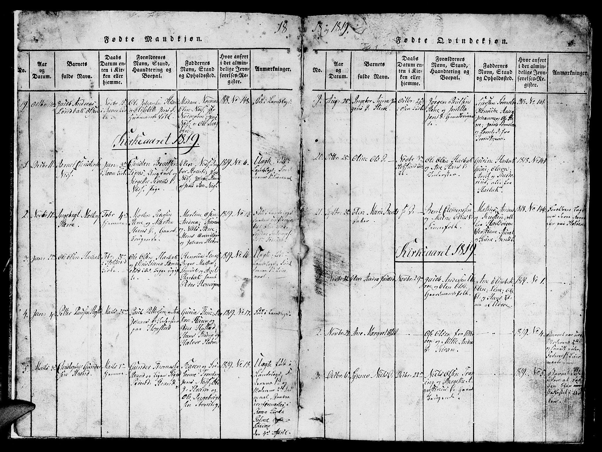 SAT, Ministerialprotokoller, klokkerbøker og fødselsregistre - Sør-Trøndelag, 657/L0714: Klokkerbok nr. 657C01, 1818-1868, s. 6