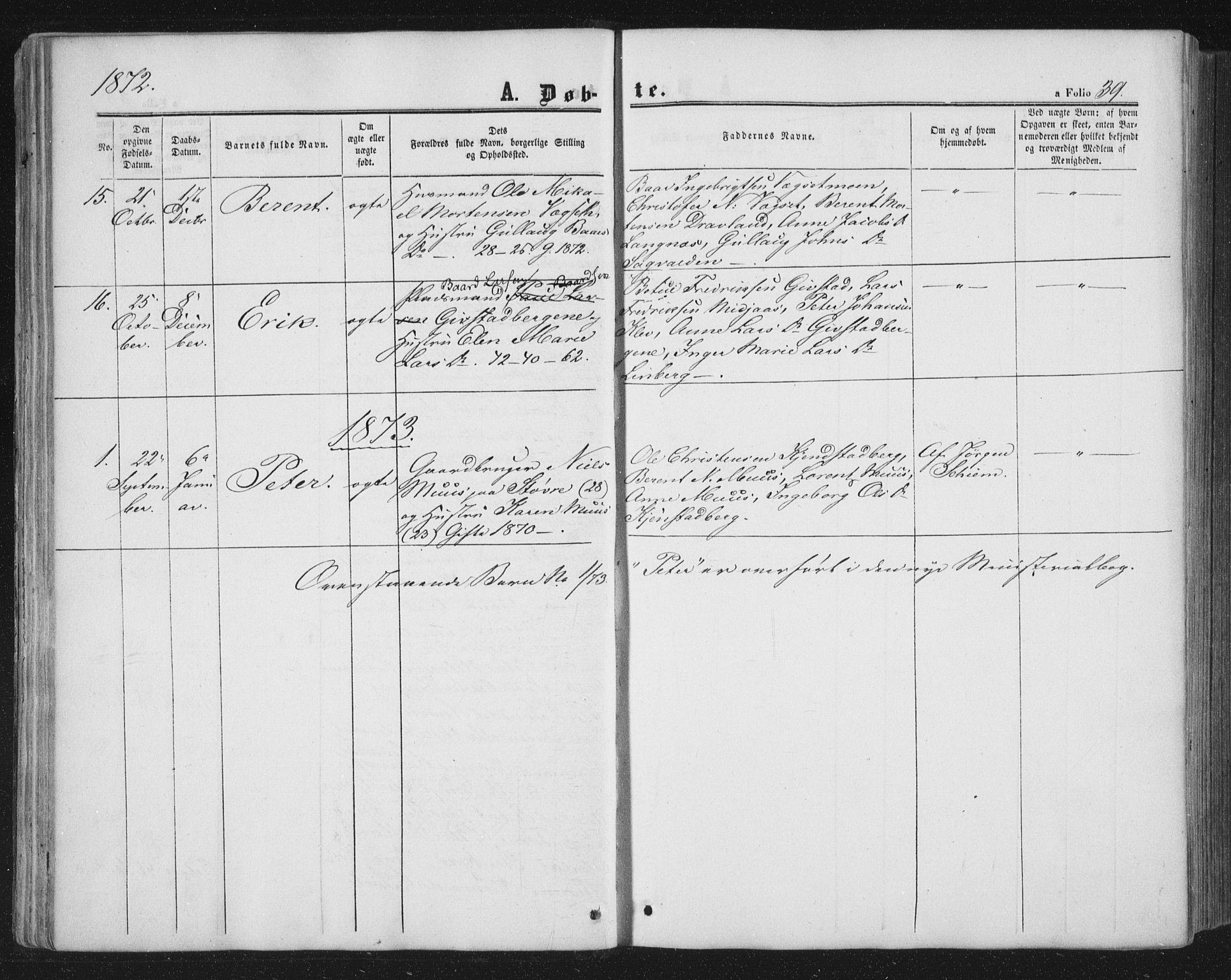 SAT, Ministerialprotokoller, klokkerbøker og fødselsregistre - Nord-Trøndelag, 749/L0472: Ministerialbok nr. 749A06, 1857-1873, s. 39