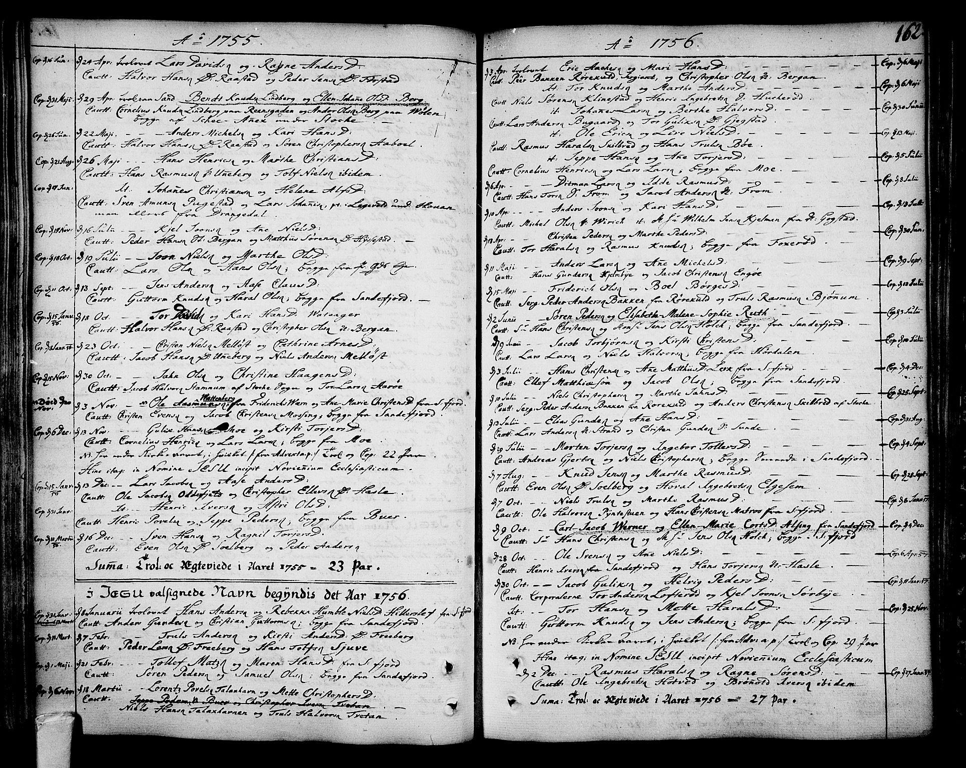 SAKO, Sandar kirkebøker, F/Fa/L0002: Ministerialbok nr. 2, 1733-1788, s. 162