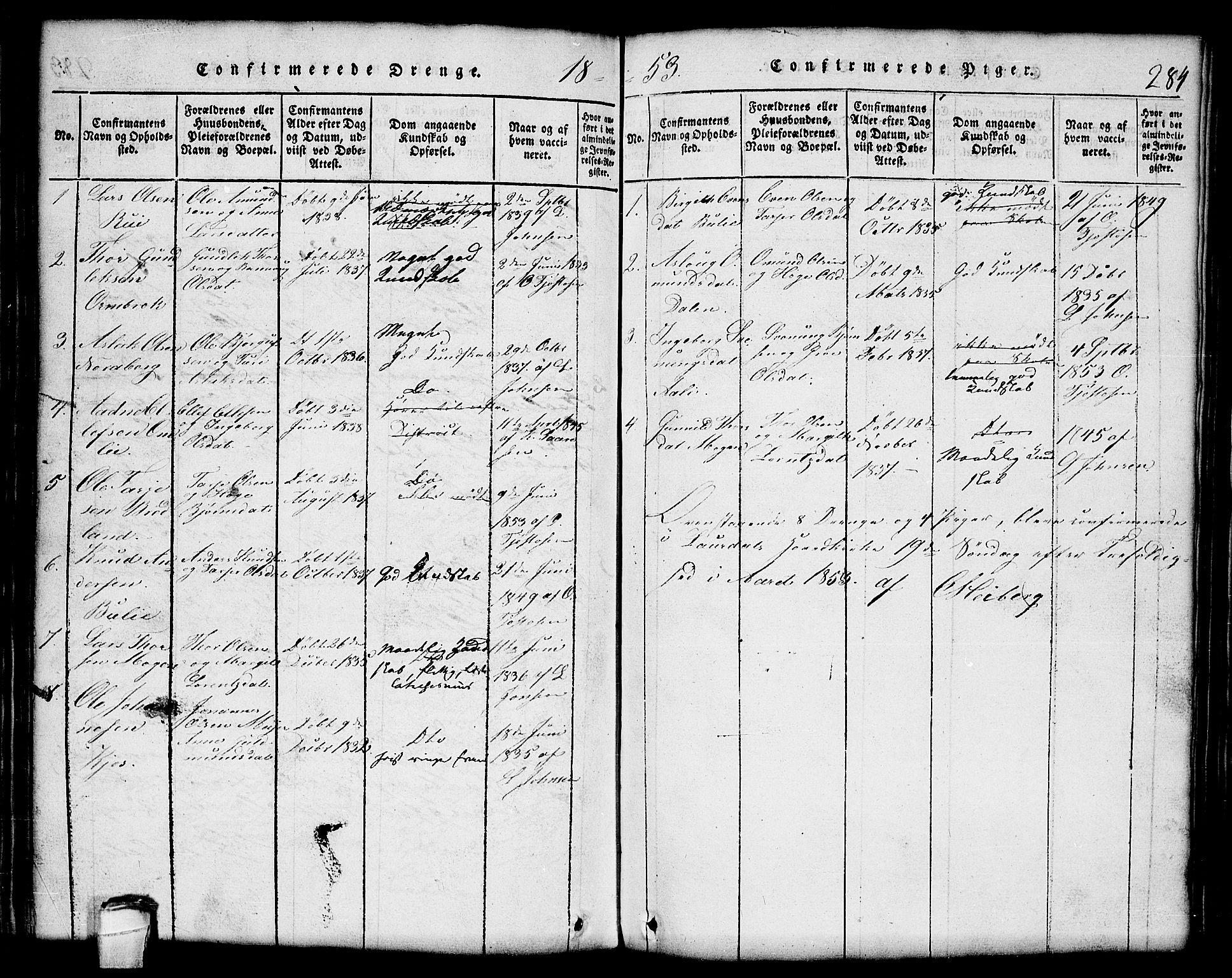 SAKO, Lårdal kirkebøker, G/Gc/L0001: Klokkerbok nr. III 1, 1815-1854, s. 284