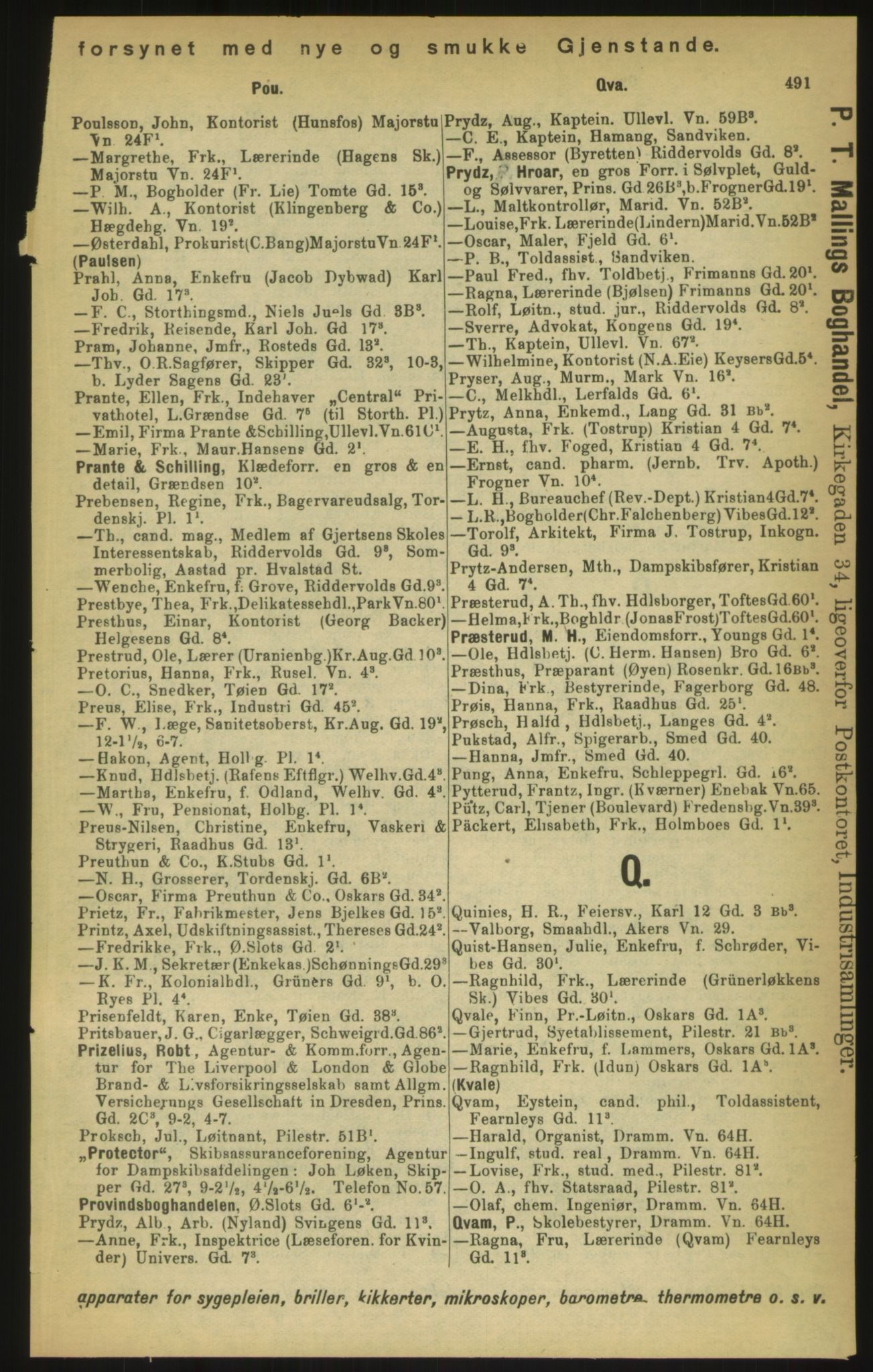 PUBL, Kristiania/Oslo adressebok, 1897, s. 491