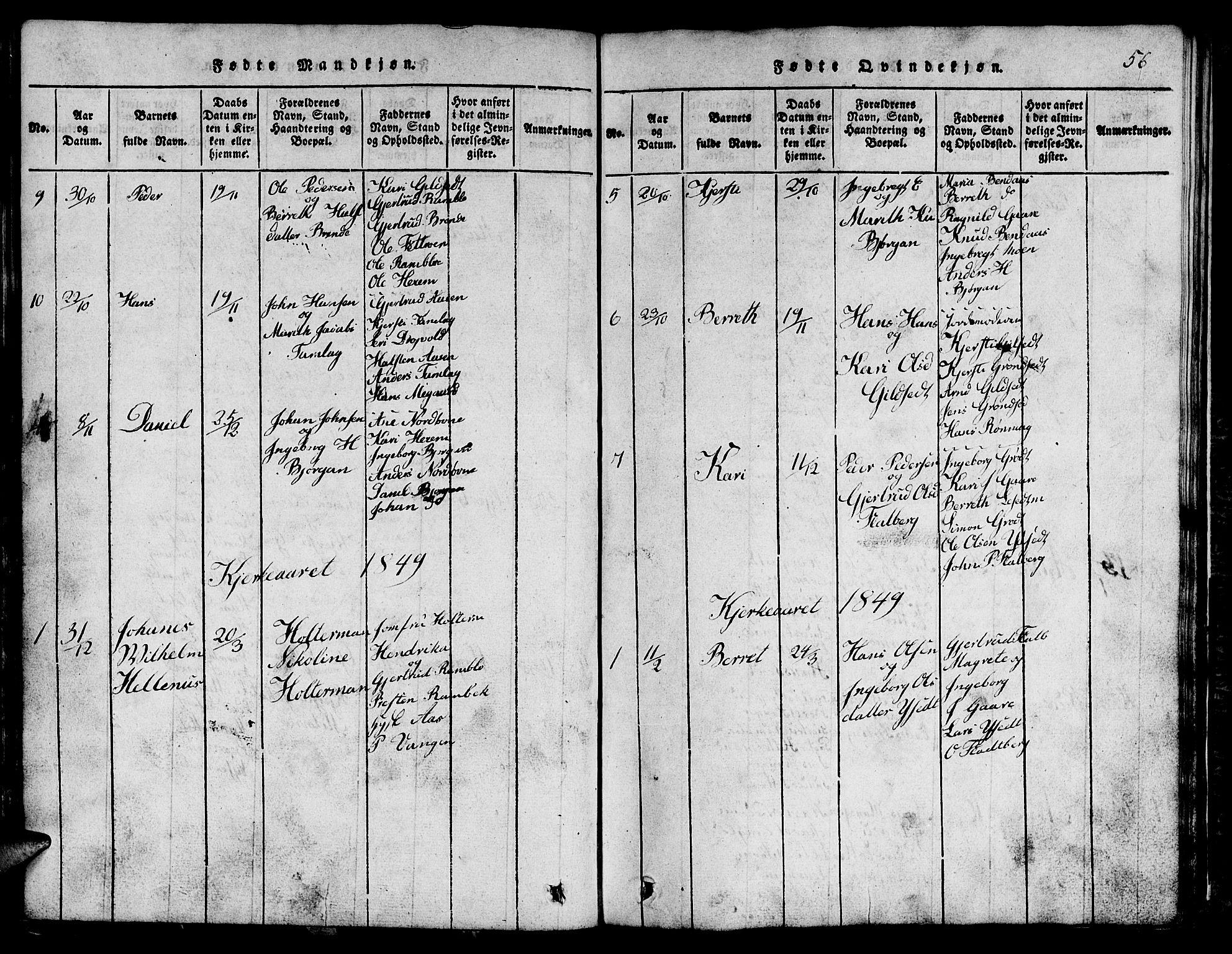SAT, Ministerialprotokoller, klokkerbøker og fødselsregistre - Sør-Trøndelag, 685/L0976: Klokkerbok nr. 685C01, 1817-1878, s. 56