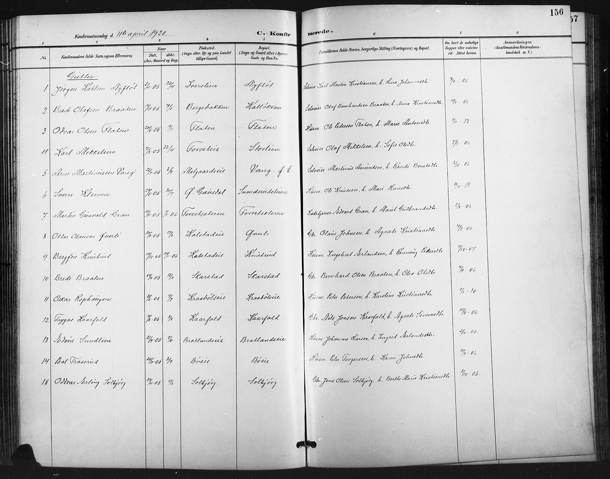 SAH, Vestre Gausdal prestekontor, Klokkerbok nr. 3, 1896-1925, s. 156
